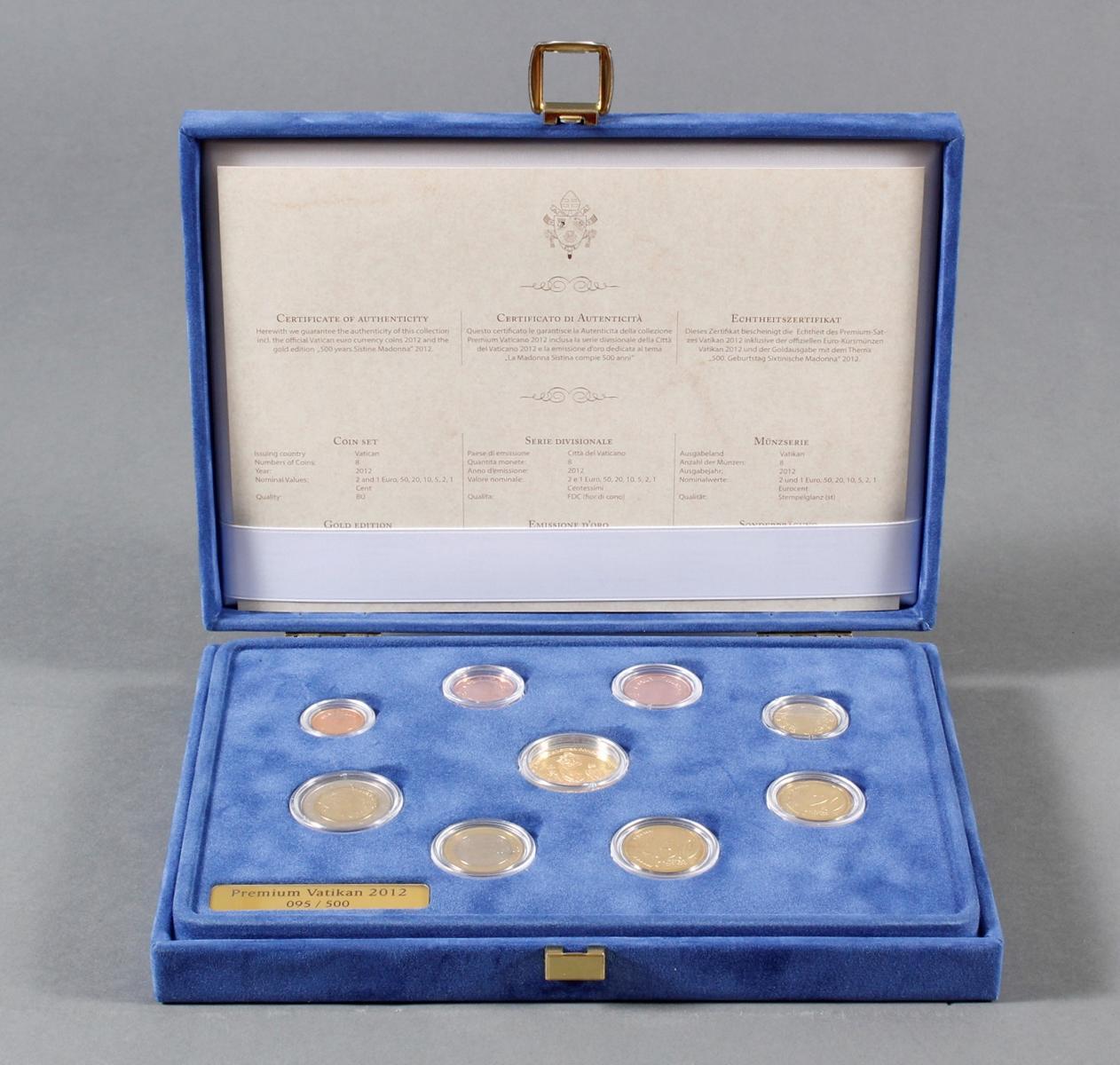 Vatikan Premium KMS (Kursmünzensatz) 2012 mit 1/10 Unze Goldmedaille