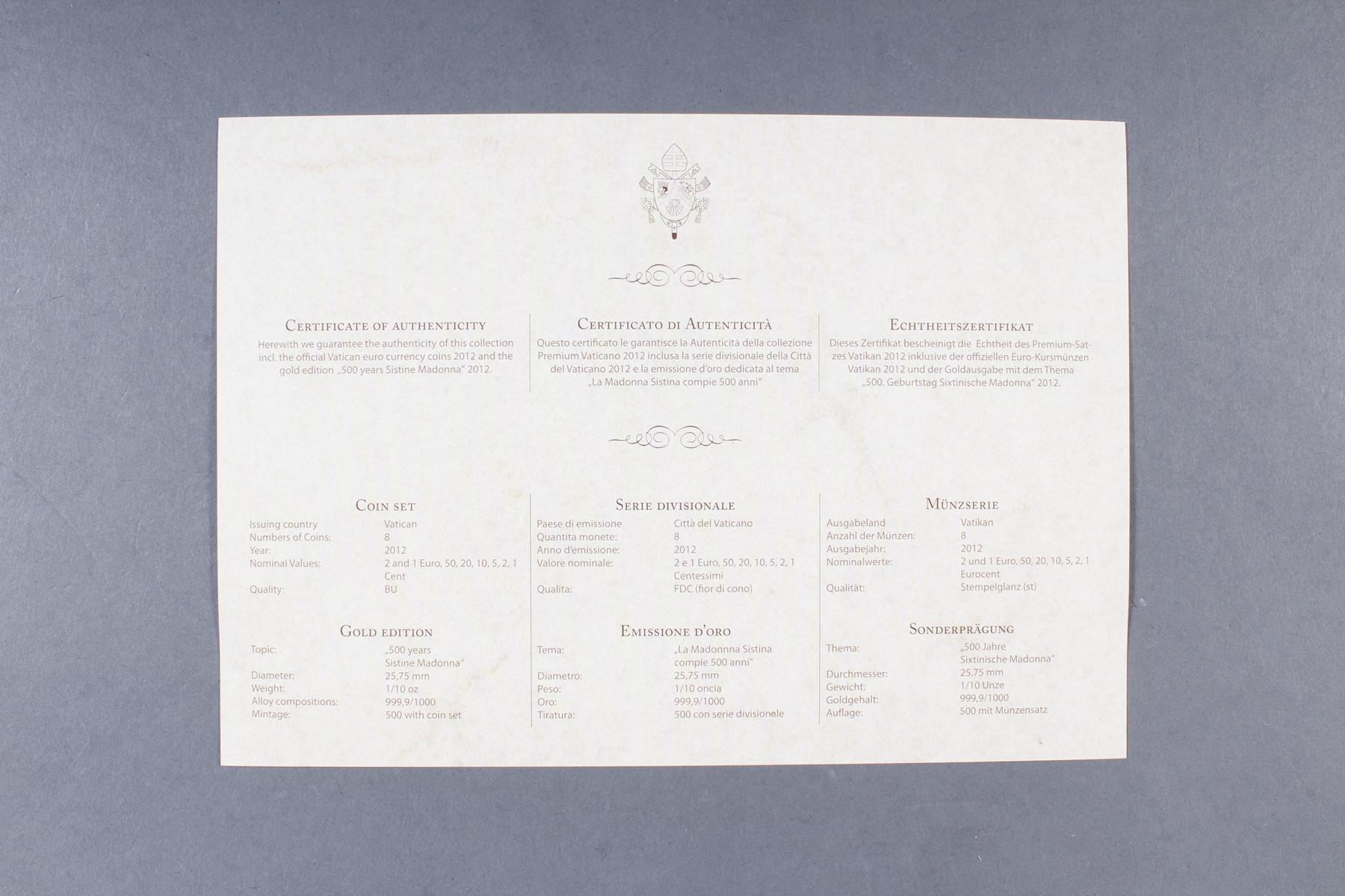 Vatikan Premium KMS (Kursmünzensatz) 2012 mit 1/10 Unze Goldmedaille-4