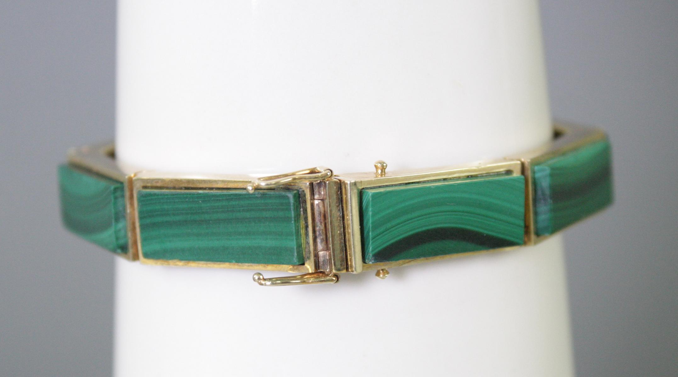 Damenarmband mit Malachit, 14  Karat Gelbgold-2