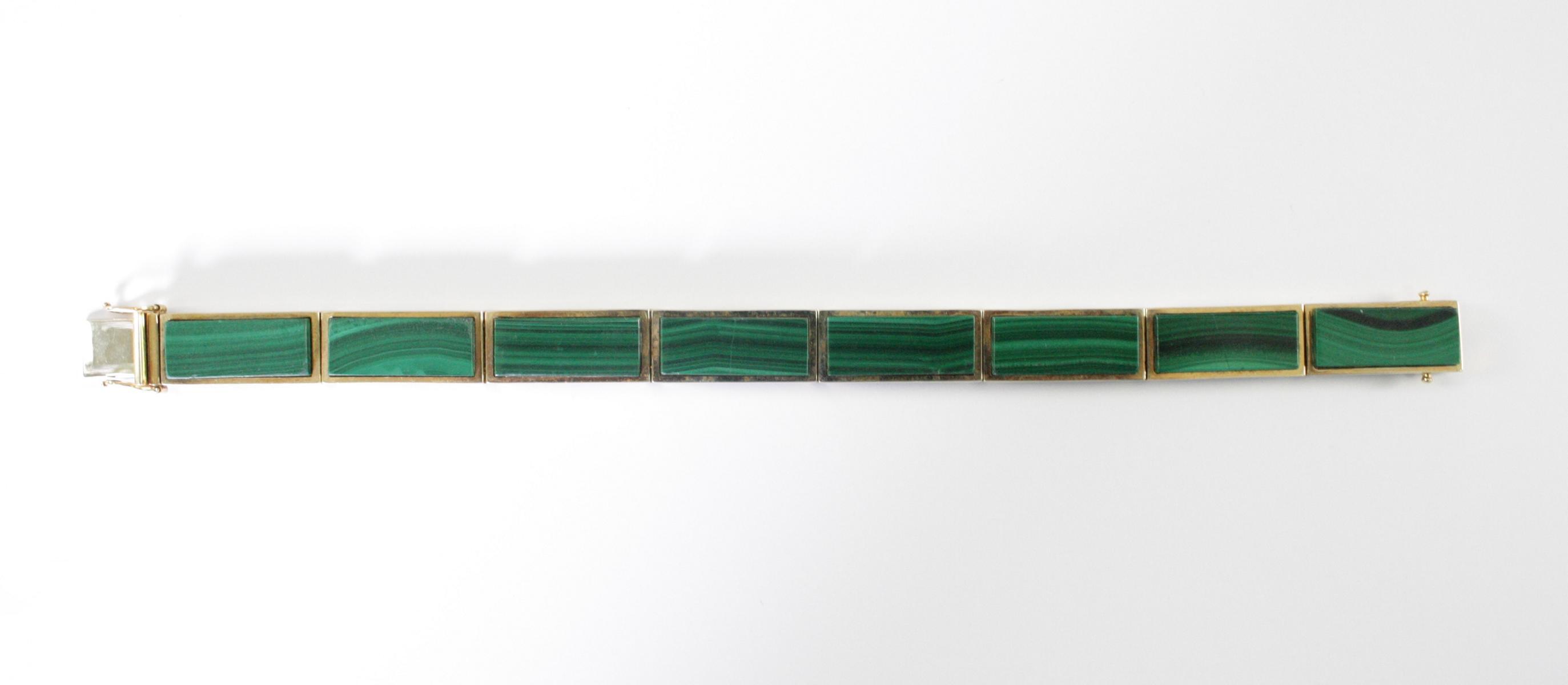 Damenarmband mit Malachit, 14  Karat Gelbgold-3