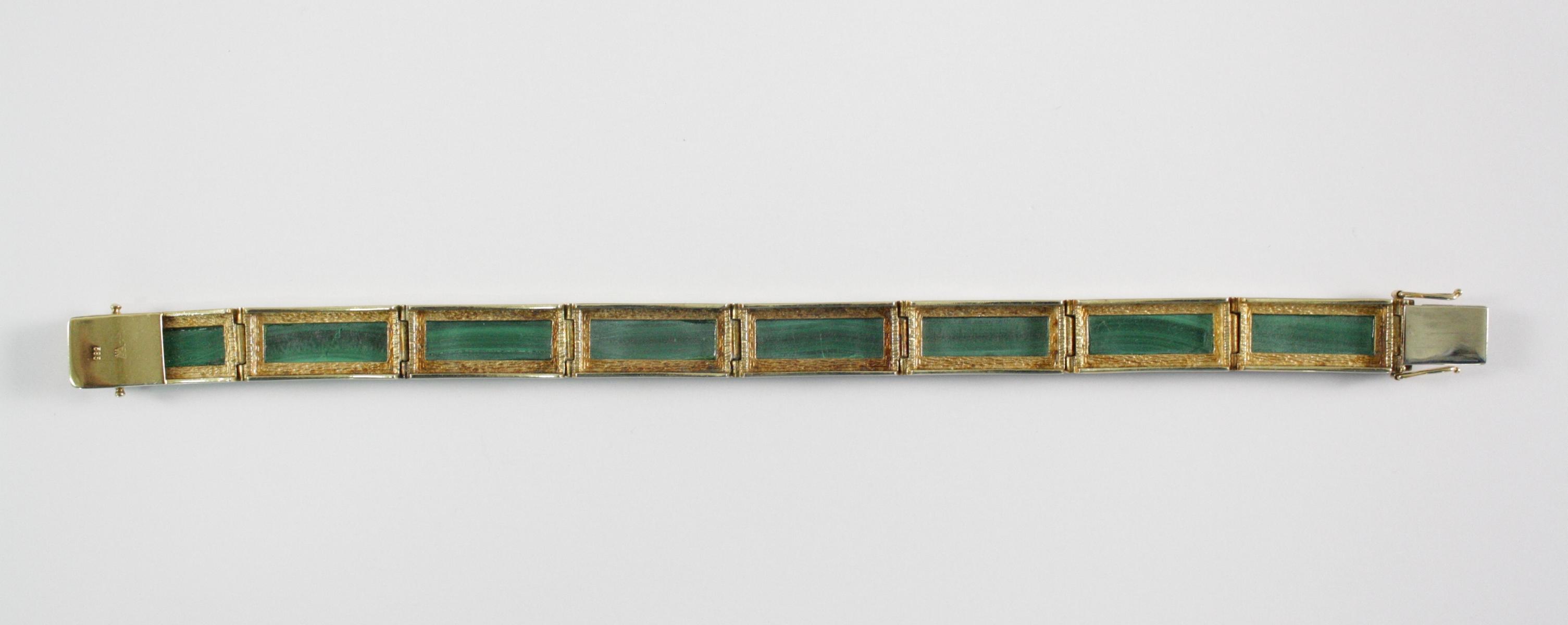 Damenarmband mit Malachit, 14  Karat Gelbgold-4