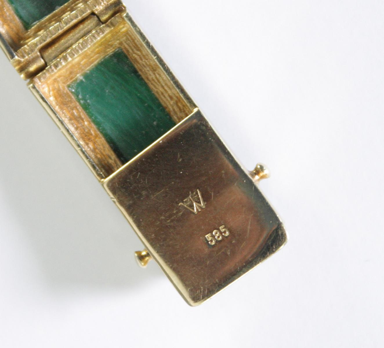 Damenarmband mit Malachit, 14  Karat Gelbgold-5
