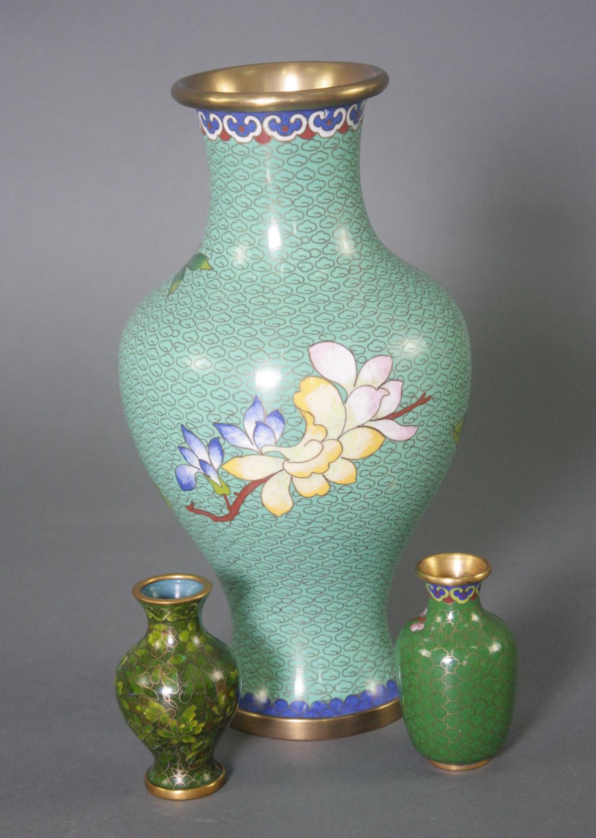 Drei Cloisonné Vasen, China-3