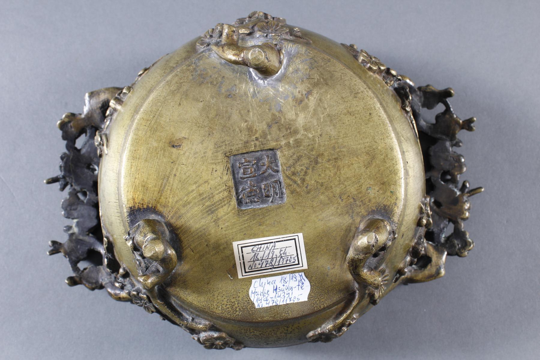 Dreiteiliger Bronze Koro, China 18. / 19. Jahrhundert-9