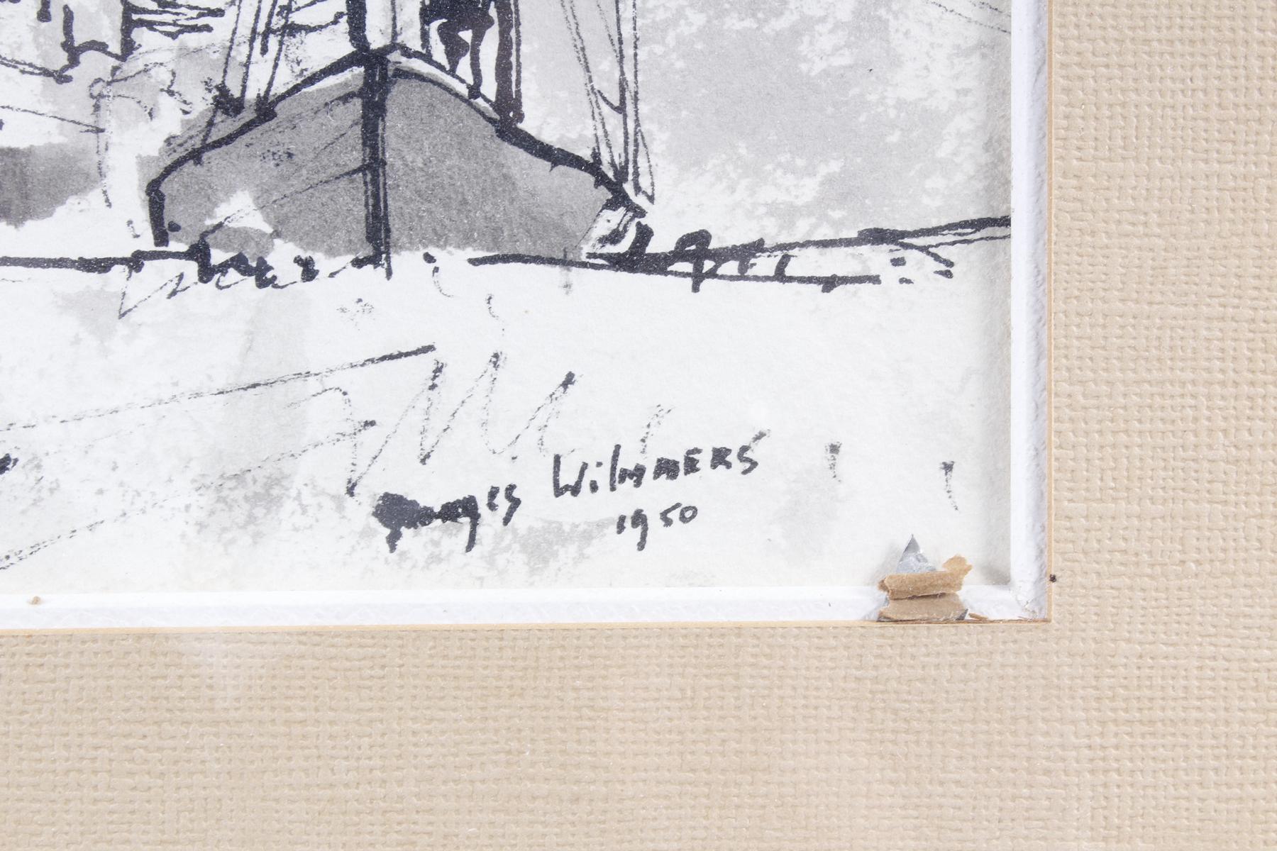 Aquarell, Hafenansicht mit Schiffen, Wilmmers 1950-3