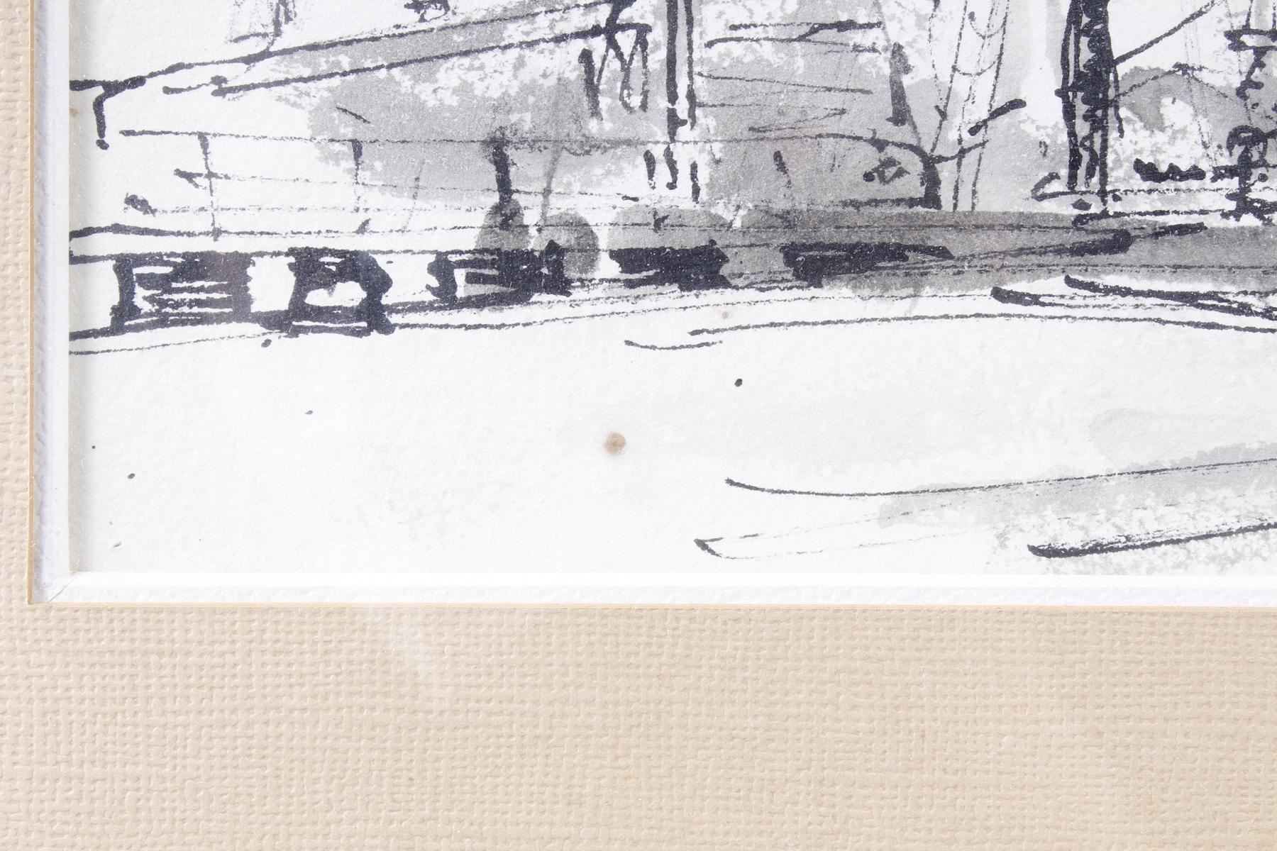 Aquarell, Hafenansicht mit Schiffen, Wilmmers 1950-4