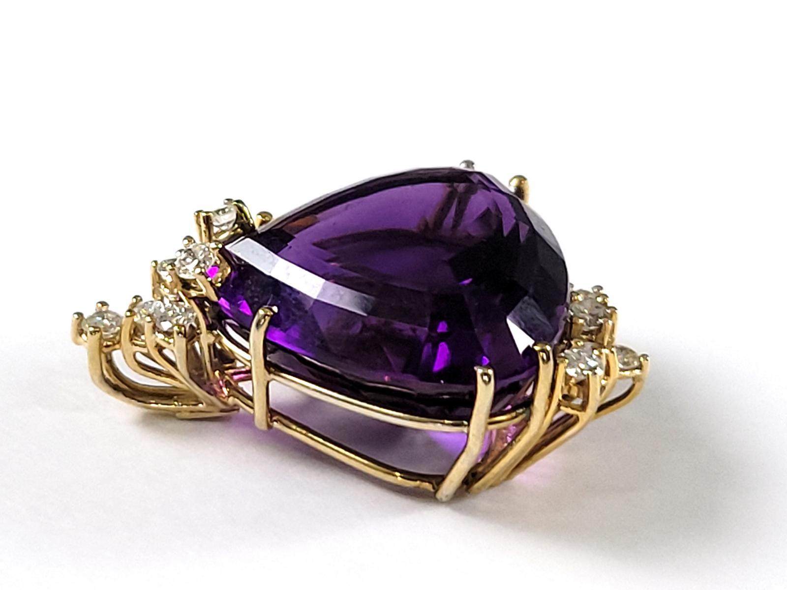 Anhänger mit Amethyst in Herzform mit Diamanten, 14 Karat Gelbgoldfassung-2