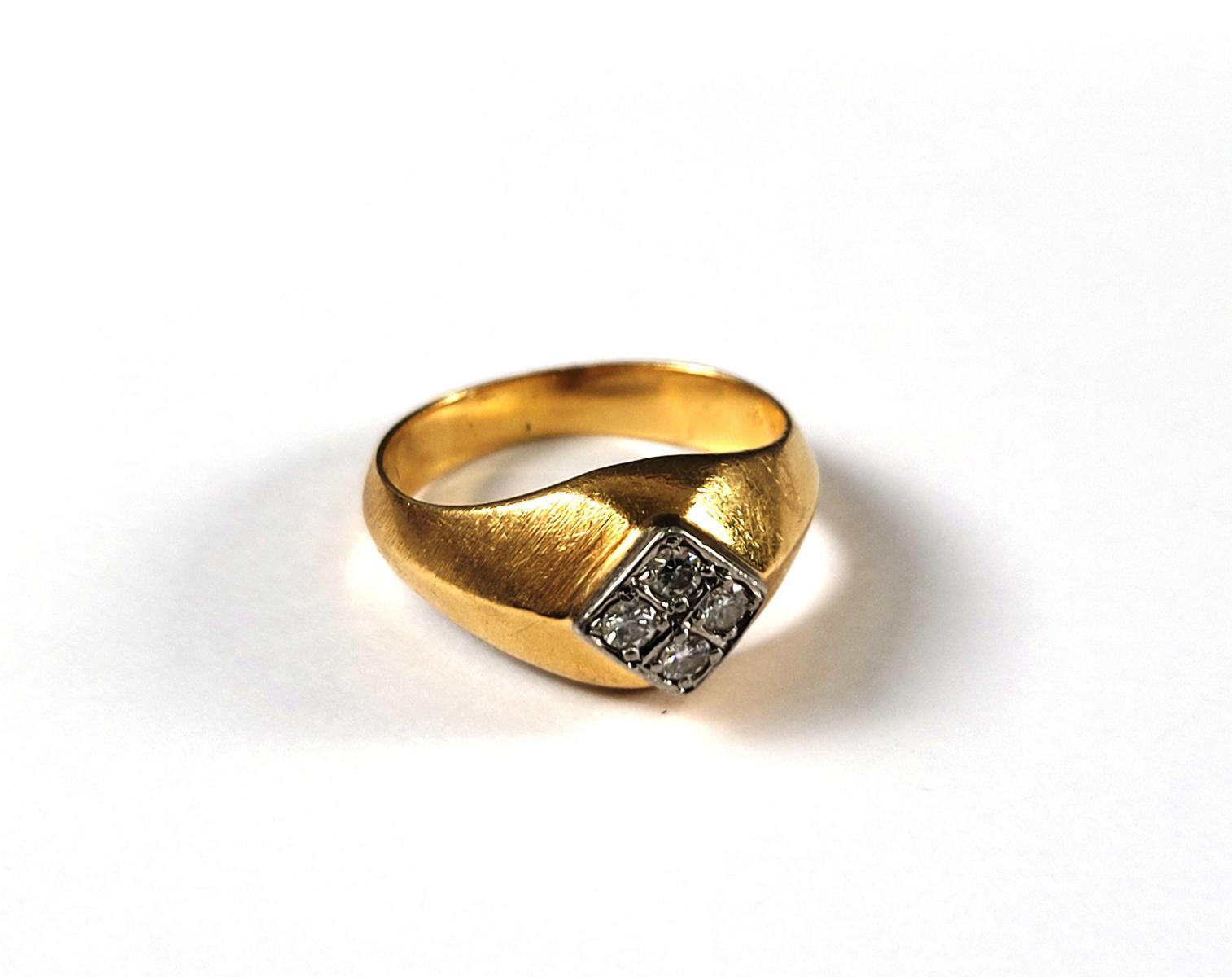 Damenring mit Diamanten, 18 Karat Gelbgold