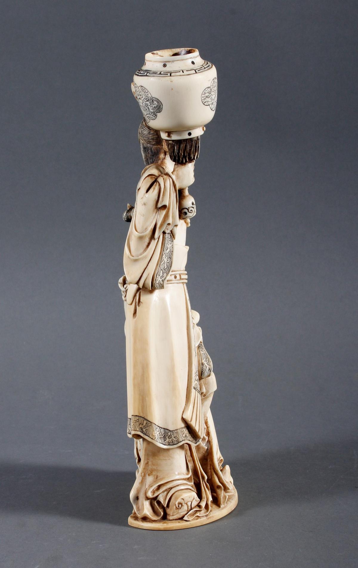 """Elfenbeinskulptur """"Hofdamen"""" detailreiche Schnitzerei, China 19. Jahrhundert-2"""