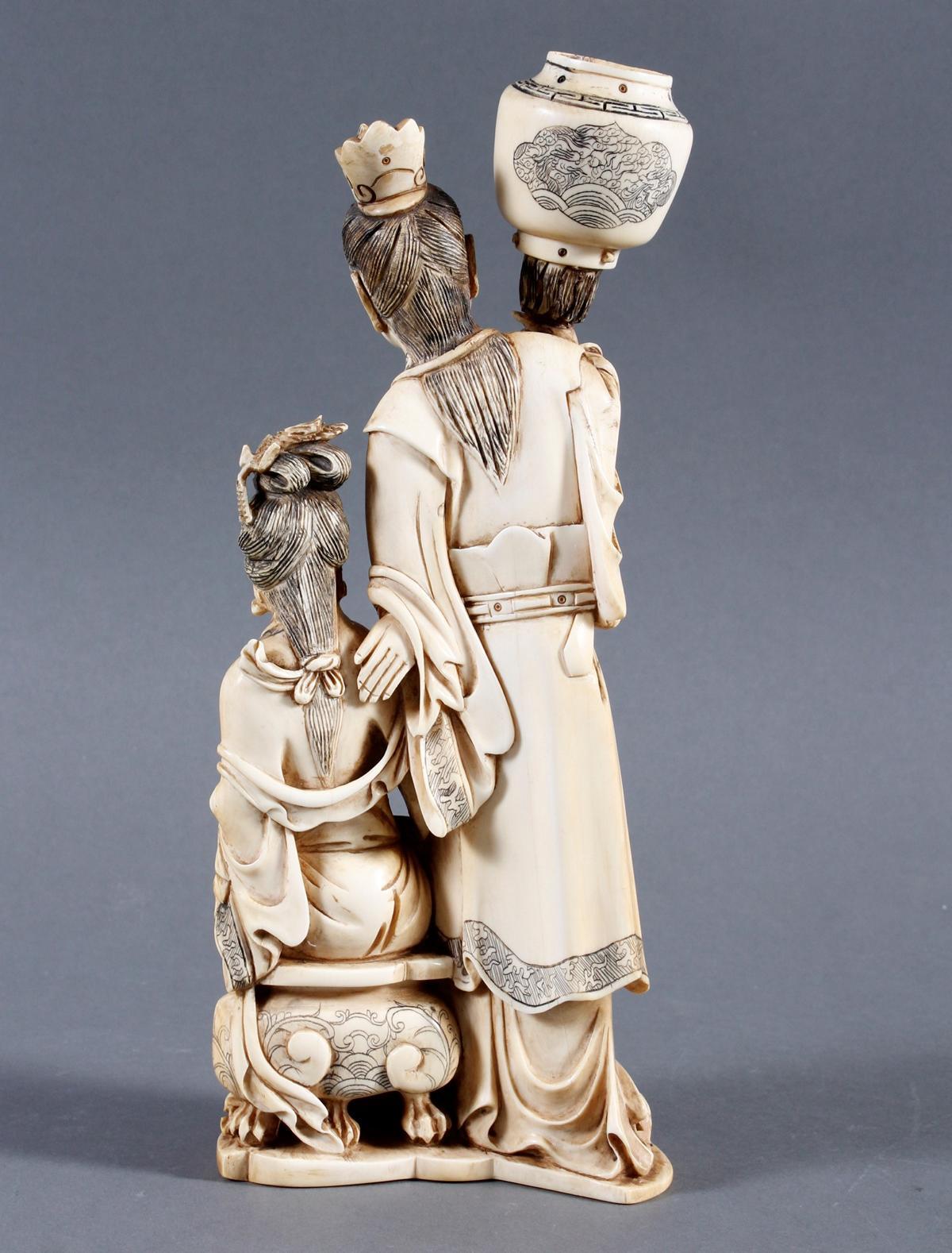 """Elfenbeinskulptur """"Hofdamen"""" detailreiche Schnitzerei, China 19. Jahrhundert-3"""