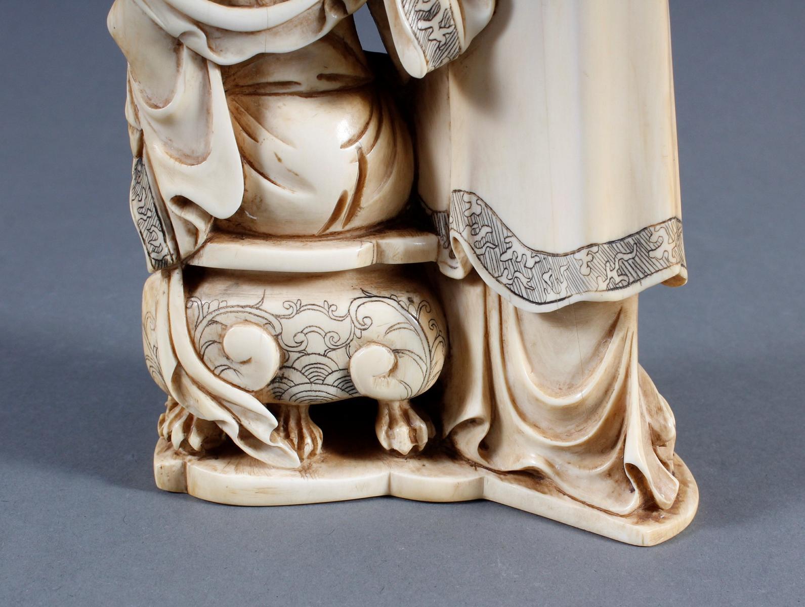 """Elfenbeinskulptur """"Hofdamen"""" detailreiche Schnitzerei, China 19. Jahrhundert-9"""