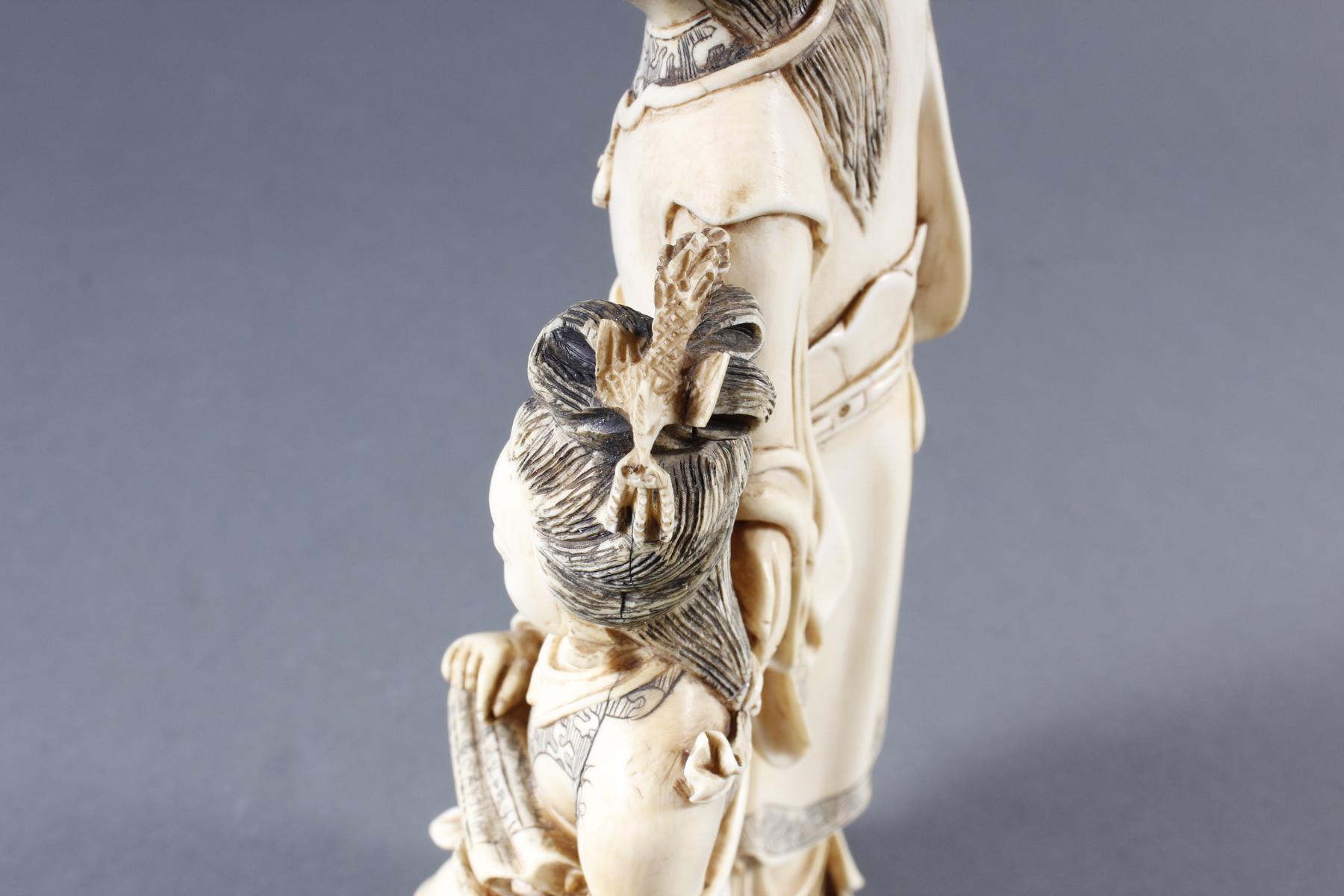 """Elfenbeinskulptur """"Hofdamen"""" detailreiche Schnitzerei, China 19. Jahrhundert-11"""