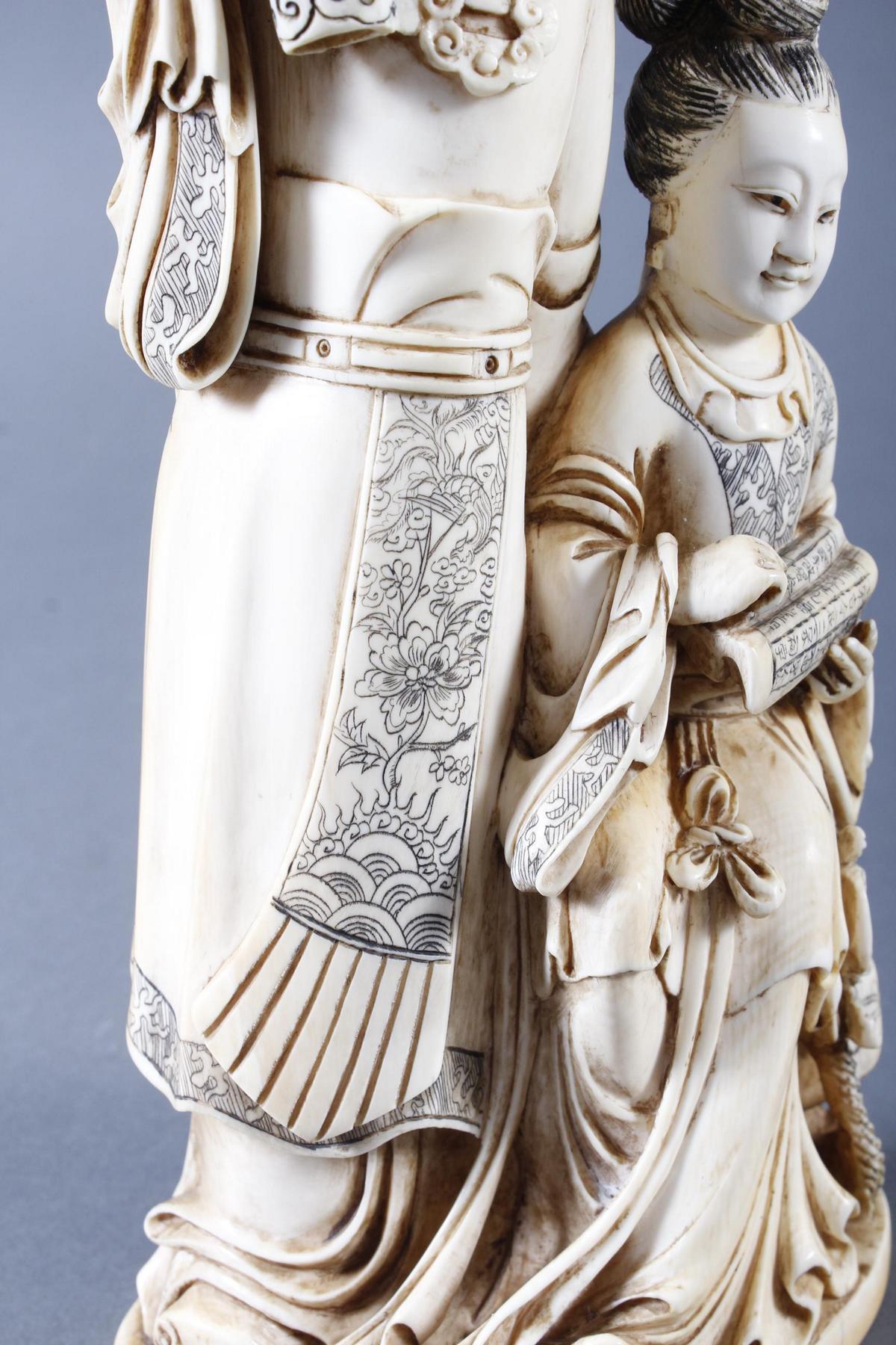 """Elfenbeinskulptur """"Hofdamen"""" detailreiche Schnitzerei, China 19. Jahrhundert-13"""