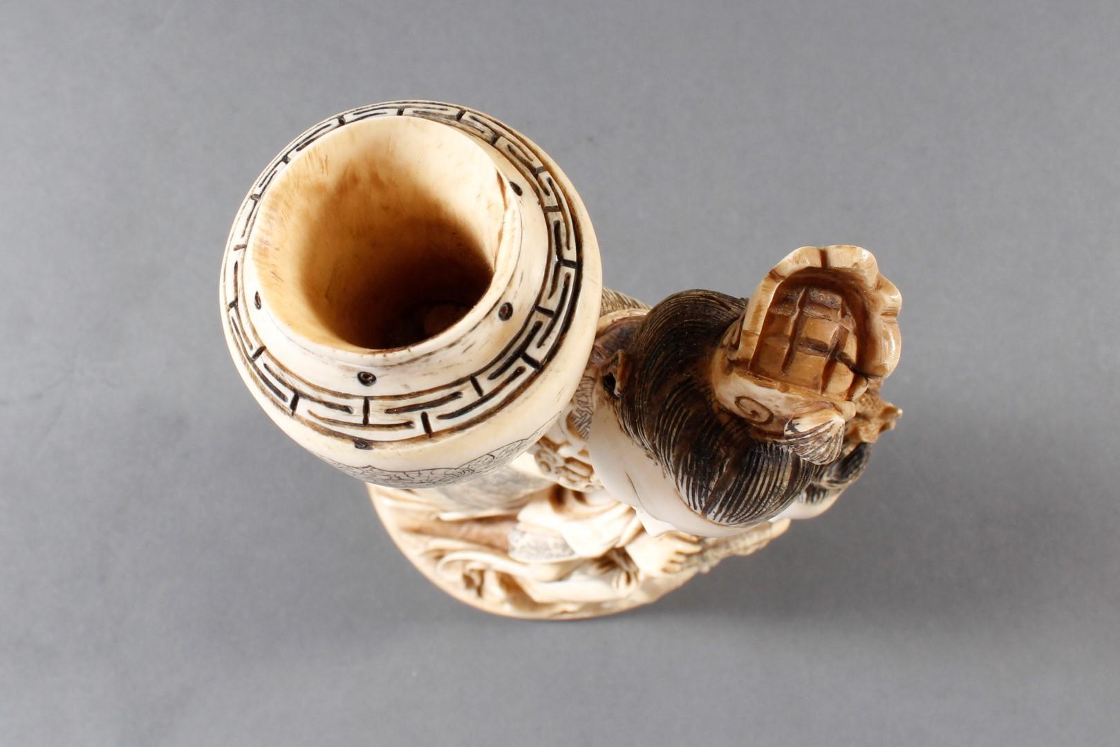 """Elfenbeinskulptur """"Hofdamen"""" detailreiche Schnitzerei, China 19. Jahrhundert-15"""