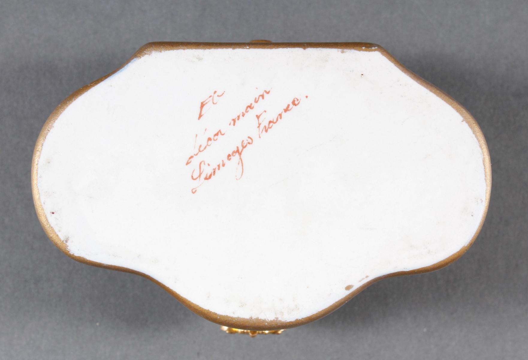 Limoges Frankreich, Handbemalte Porzellan-Pillendose, 1. Hälfte 20. Jahrhundert-6