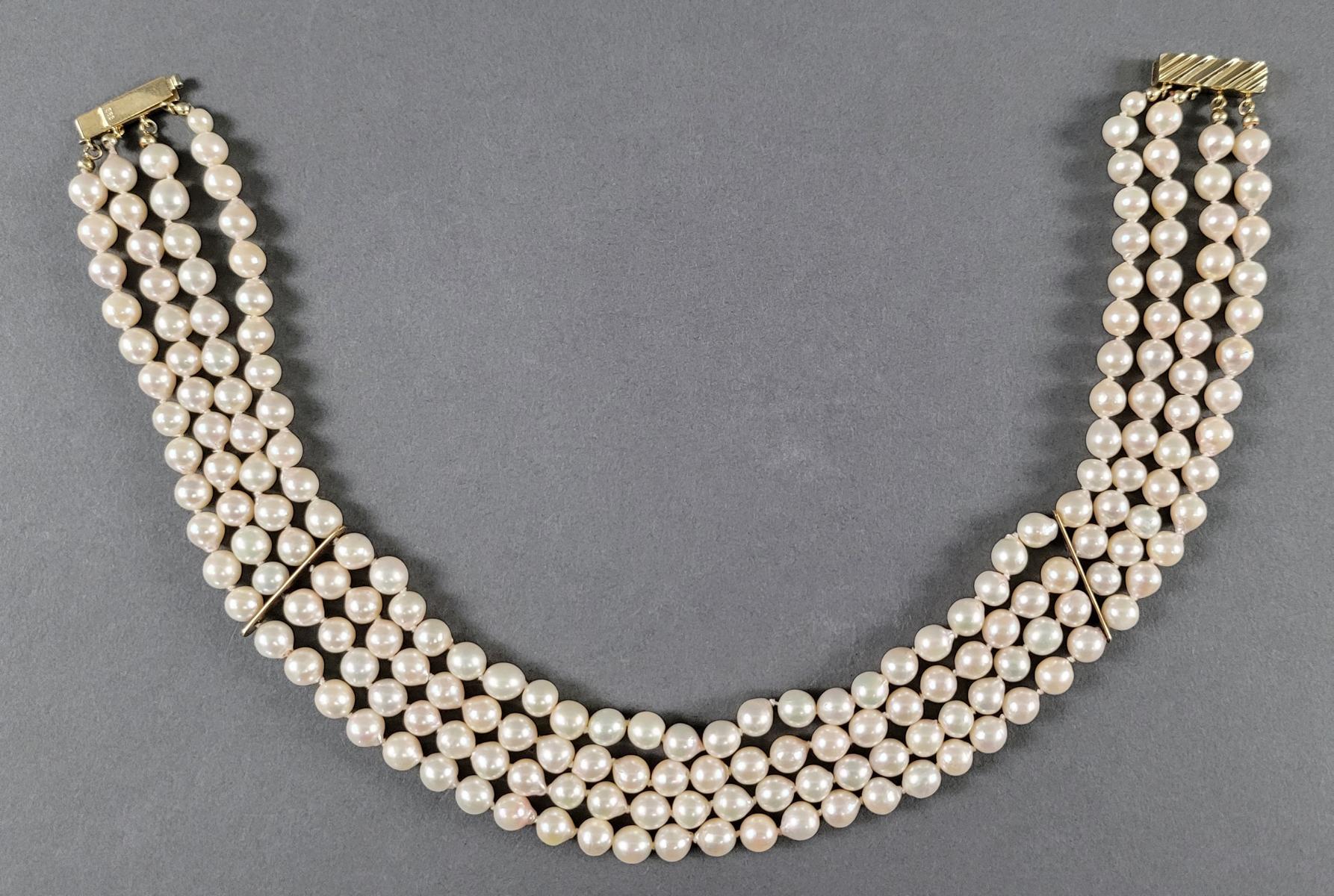Perlencollier mit 14 Karat Gelbgoldschließe-3