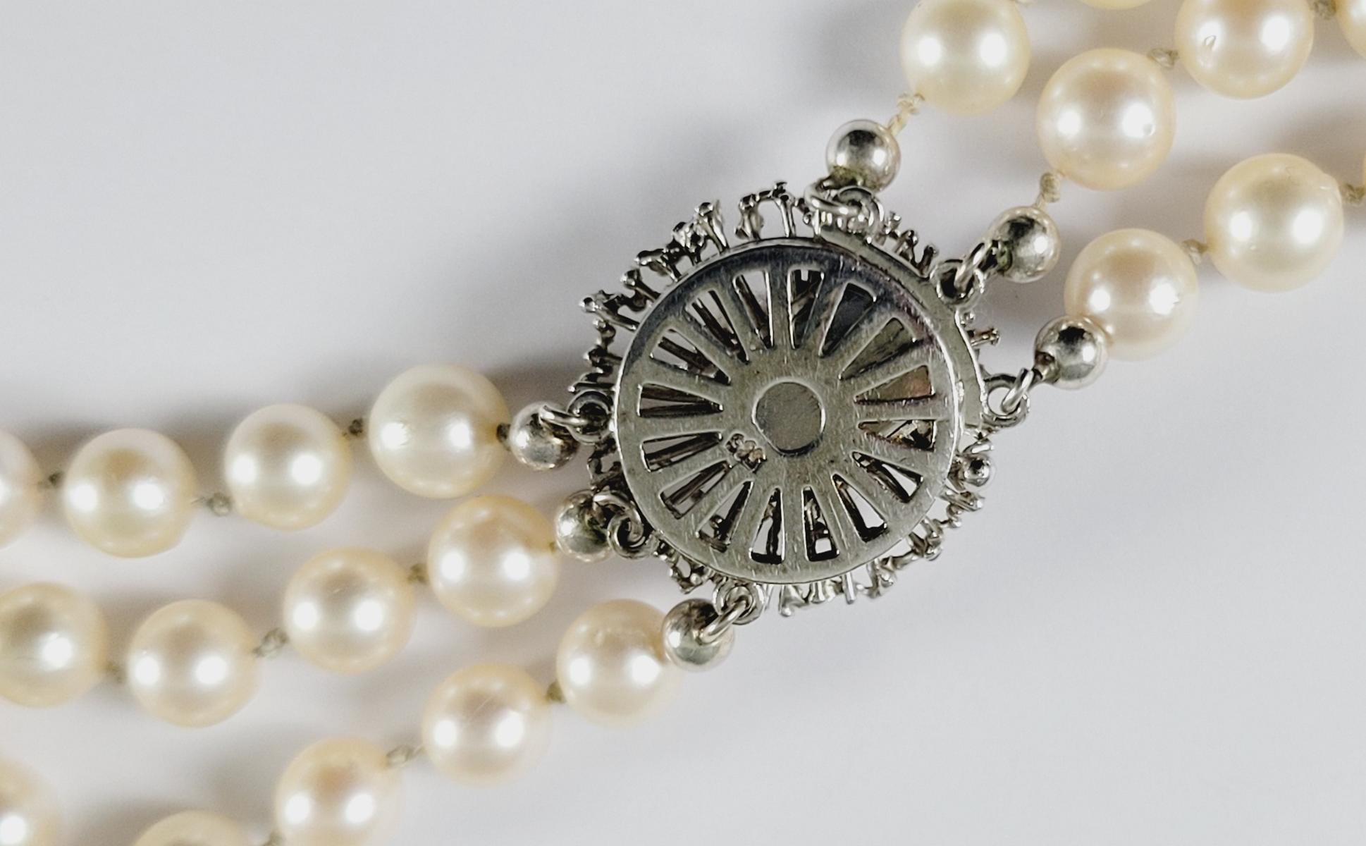 Perlenkette mit 14 Karat Weißgoldschließe-2