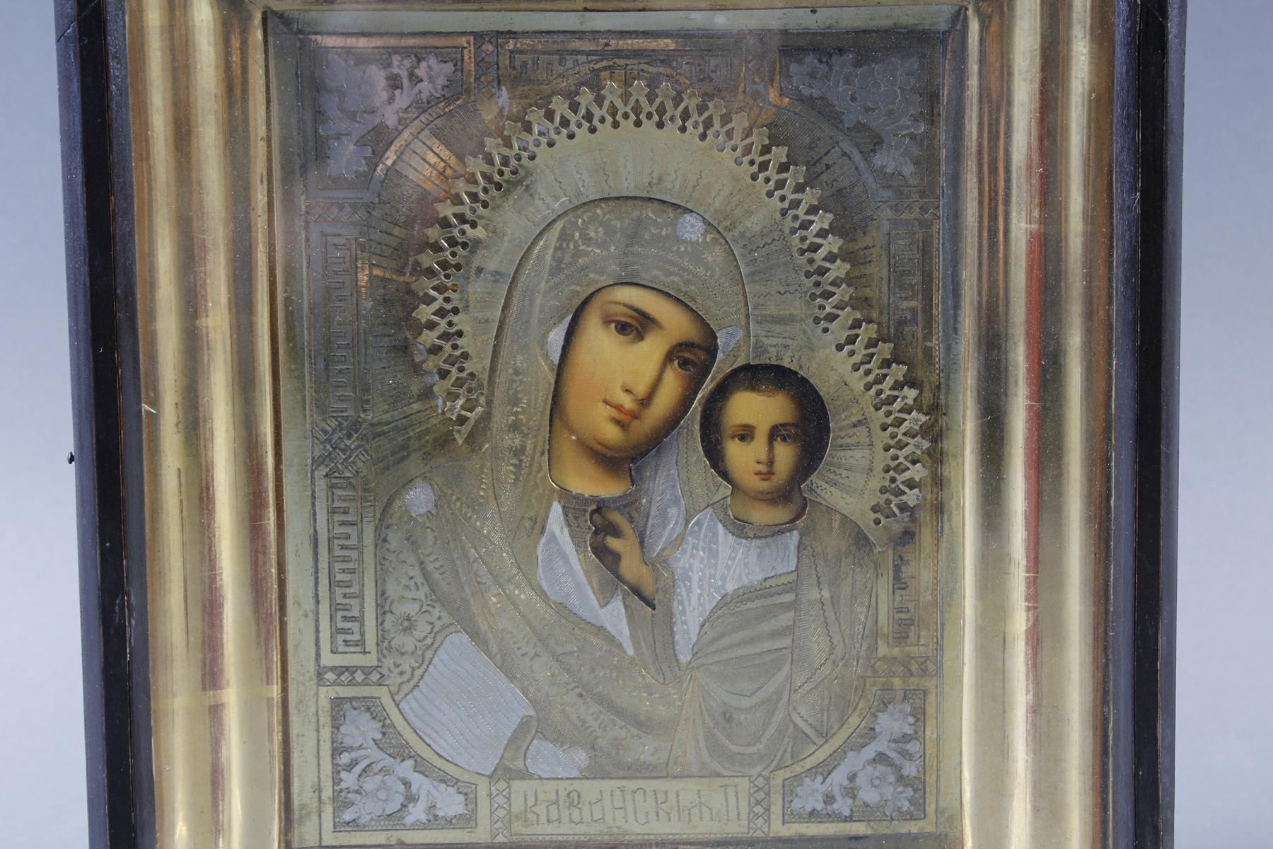 Ikone mit vergoldetem Silberoklad, Maria mit dem Jesuskind, Russland Anfang 20. Jahrhundert-2