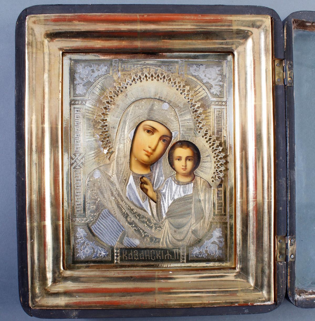 Ikone mit vergoldetem Silberoklad, Maria mit dem Jesuskind, Russland Anfang 20. Jahrhundert-3
