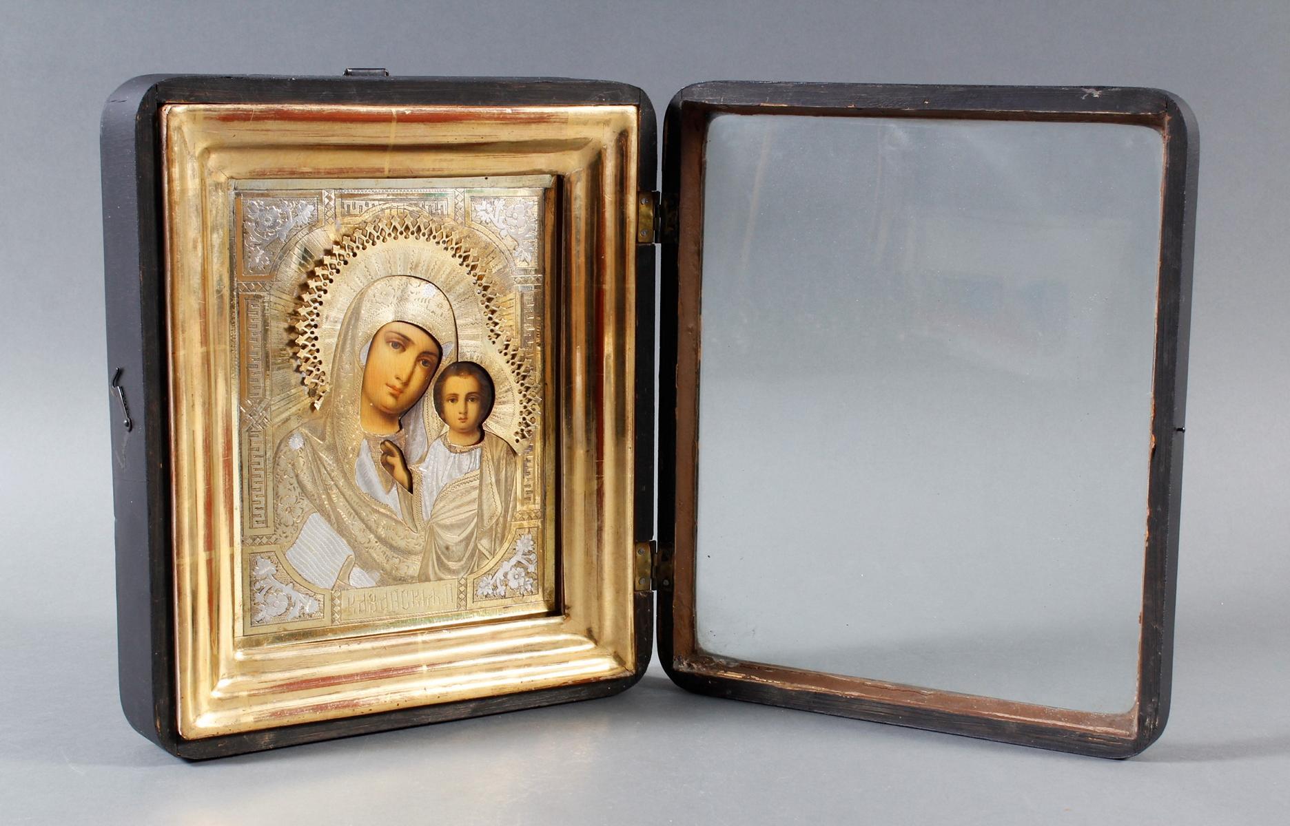 Ikone mit vergoldetem Silberoklad, Maria mit dem Jesuskind, Russland Anfang 20. Jahrhundert-4