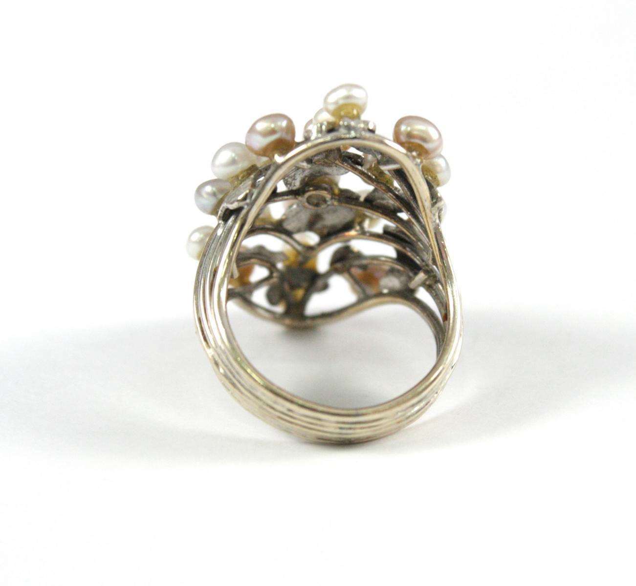 Damenring mit Perlen, 14 Karat Weißgold-3