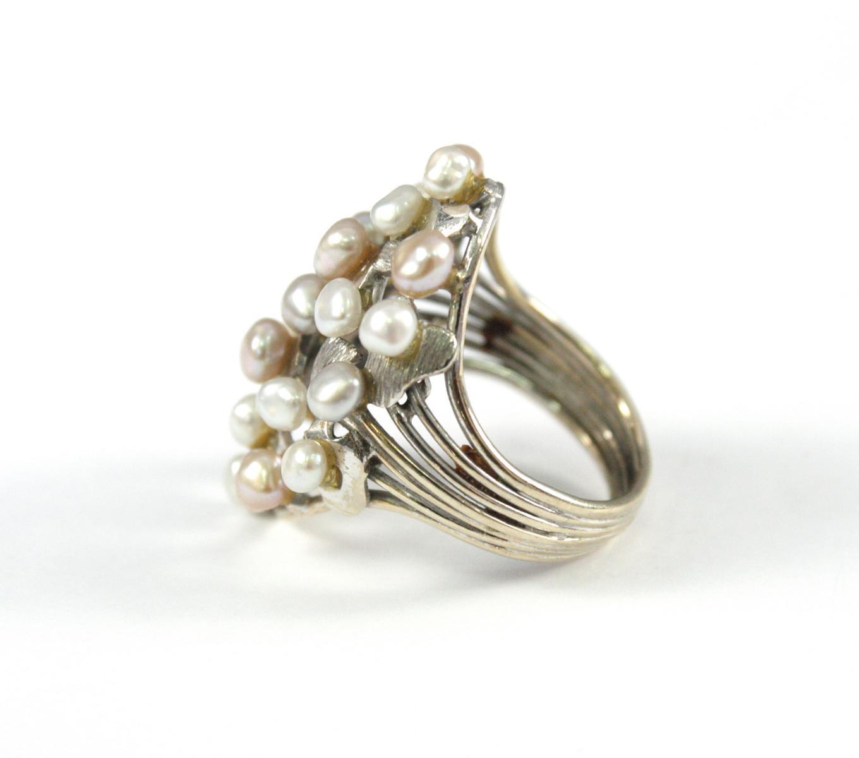 Damenring mit Perlen, 14 Karat Weißgold-4