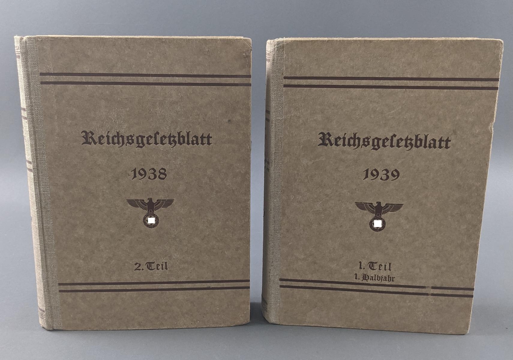 Reichsgesetzblatt, 2 Bände 1938 und 1939