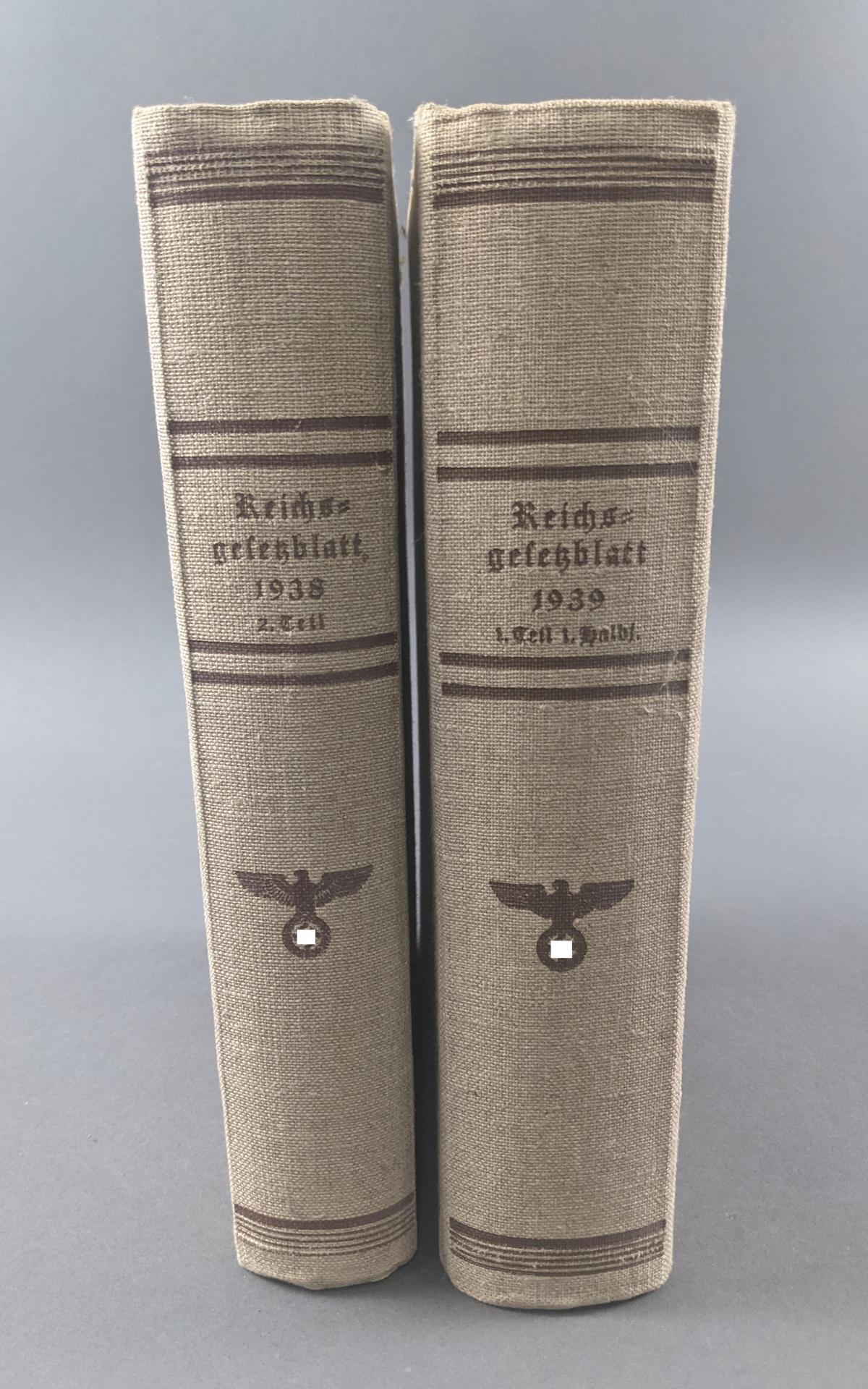 Reichsgesetzblatt, 2 Bände 1938 und 1939-2