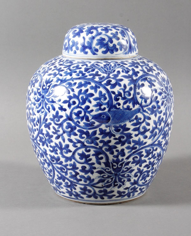 Blau-weiß Vase mit Deckel, Porzellan, China, Kang-hsi (1662-1722) Marke und Periode