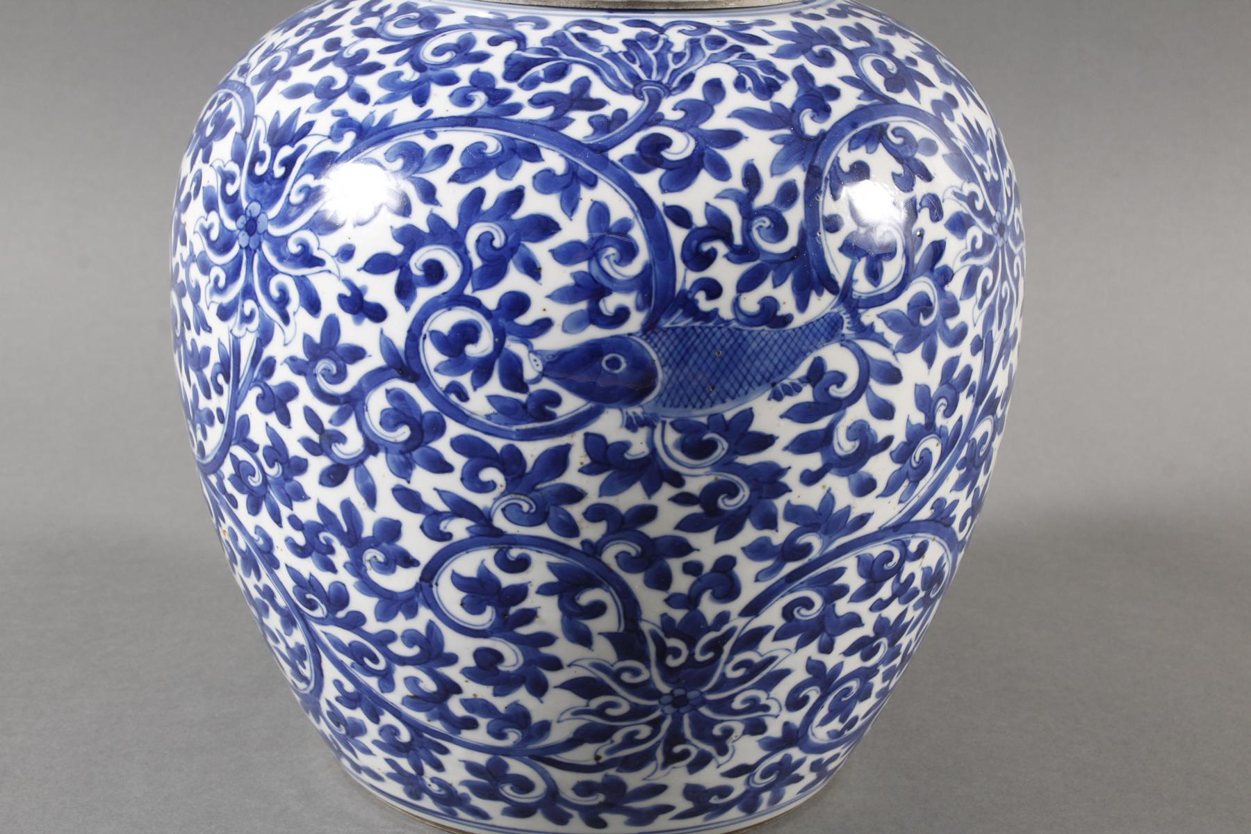 Blau-weiß Vase mit Deckel, Porzellan, China, Kang-hsi (1662-1722) Marke und Periode-2