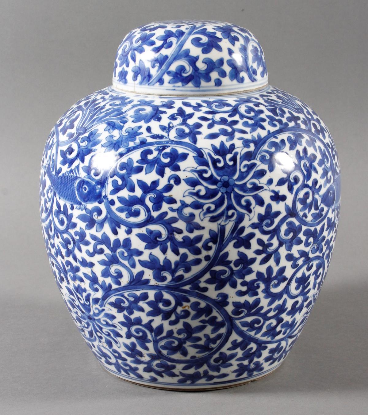 Blau-weiß Vase mit Deckel, Porzellan, China, Kang-hsi (1662-1722) Marke und Periode-3