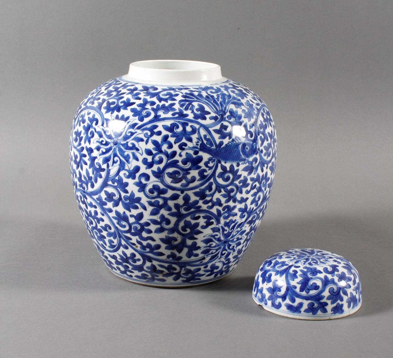 Blau-weiß Vase mit Deckel, Porzellan, China, Kang-hsi (1662-1722) Marke und Periode-4