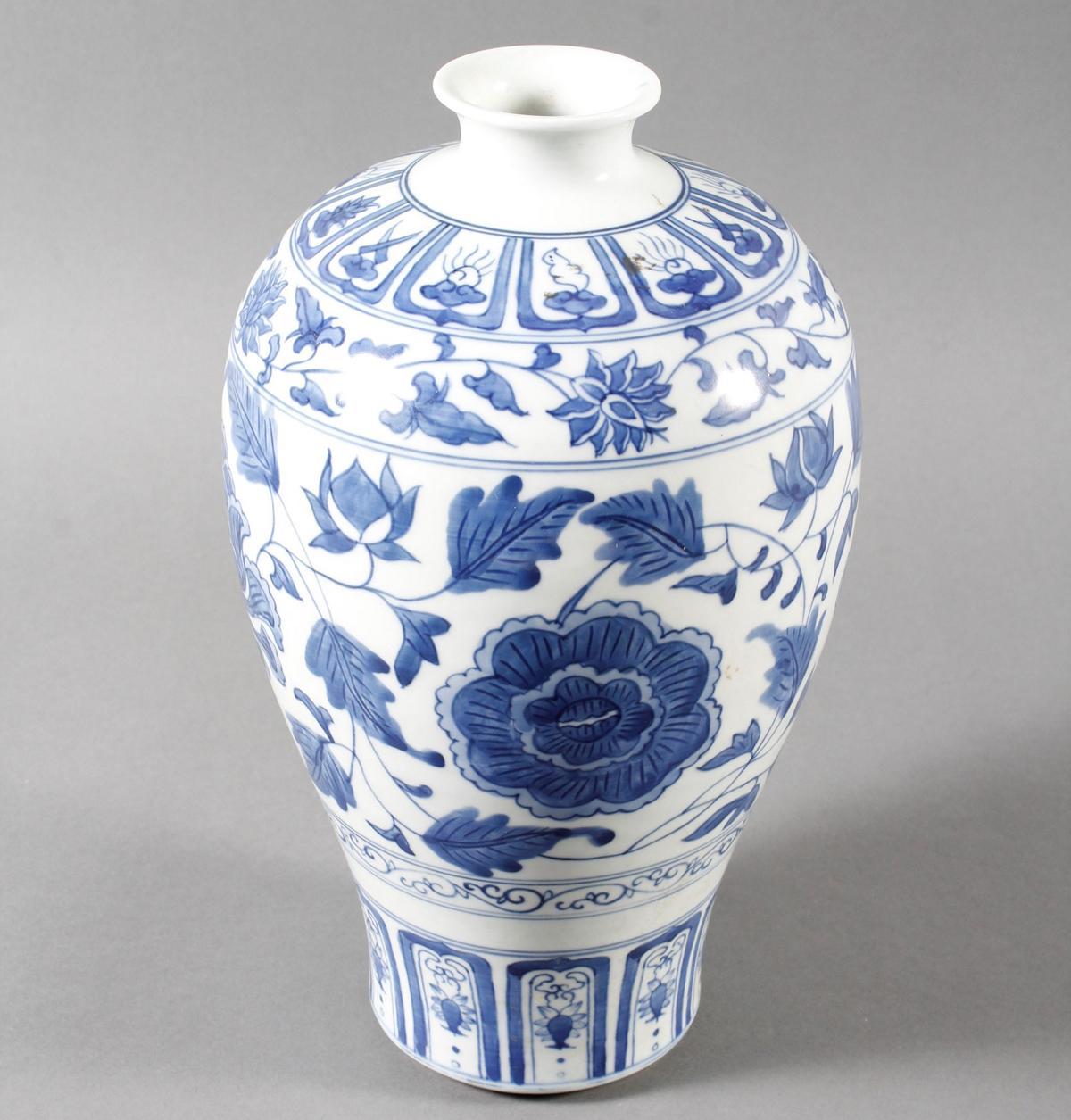 """Blau-Weiß- Porzellan Ziervase """"Meiping"""", China, Thung-chih 1862-1874 gemarkt-4"""