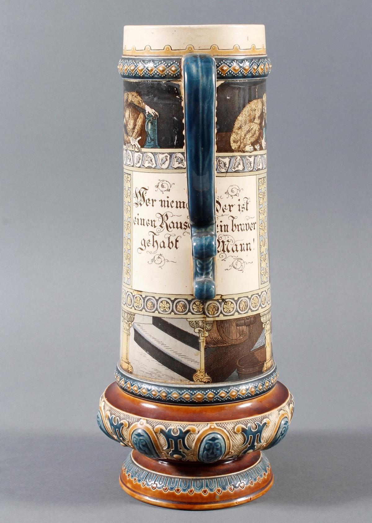 Große Steingut Schenkkanne von Mettlach – Villeroy& Boch – von 1899-5
