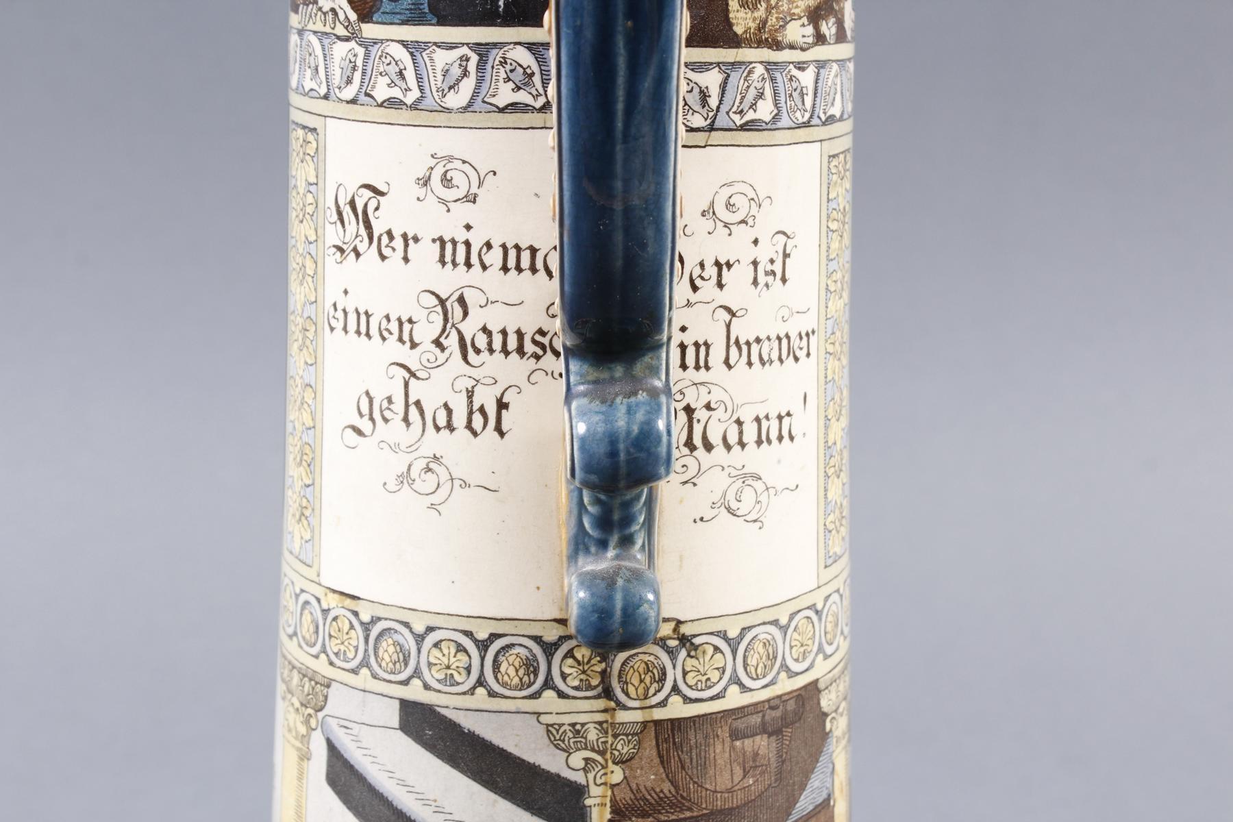 Große Steingut Schenkkanne von Mettlach – Villeroy& Boch – von 1899-6