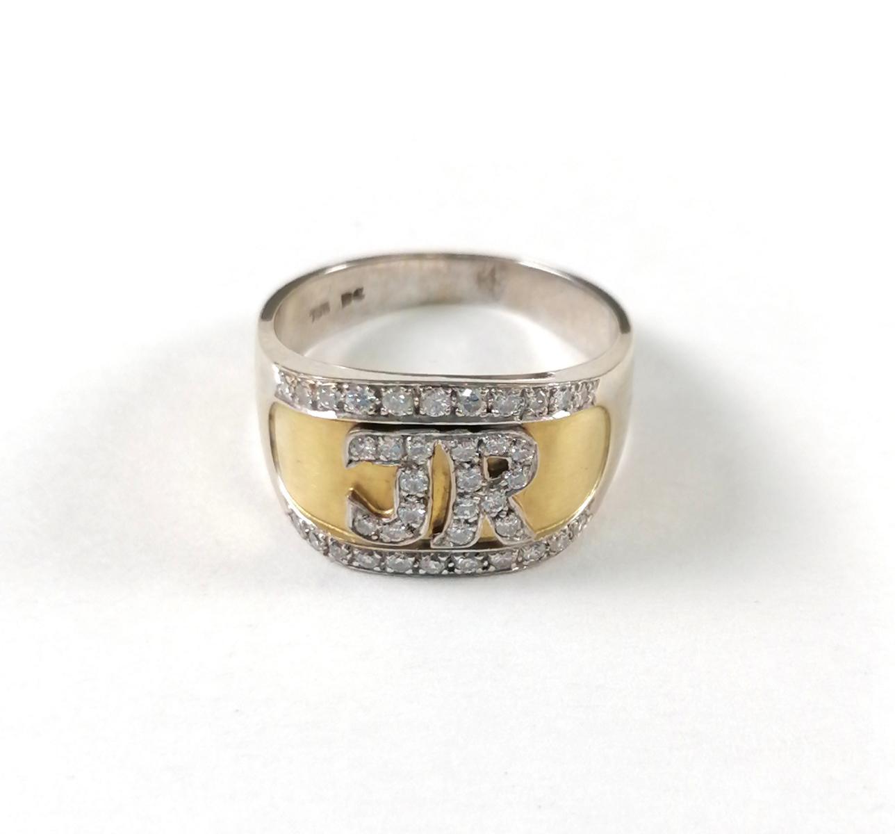 18 Karat Goldring mit Diamanten und Monogramm 'JR'-2