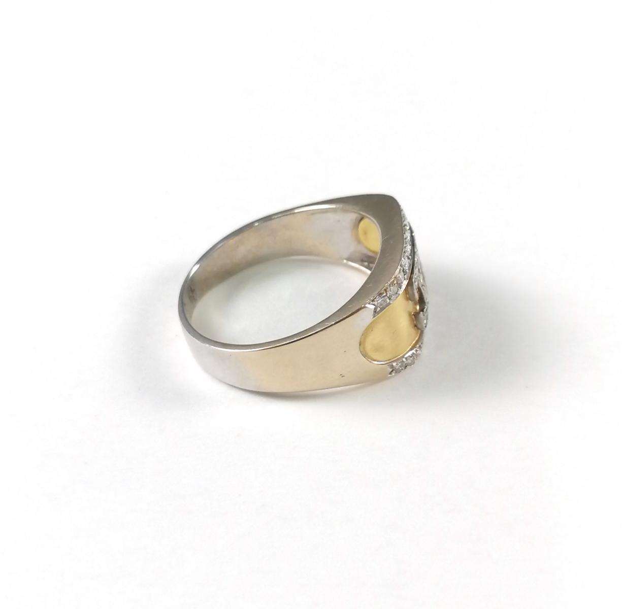 18 Karat Goldring mit Diamanten und Monogramm 'JR'-3