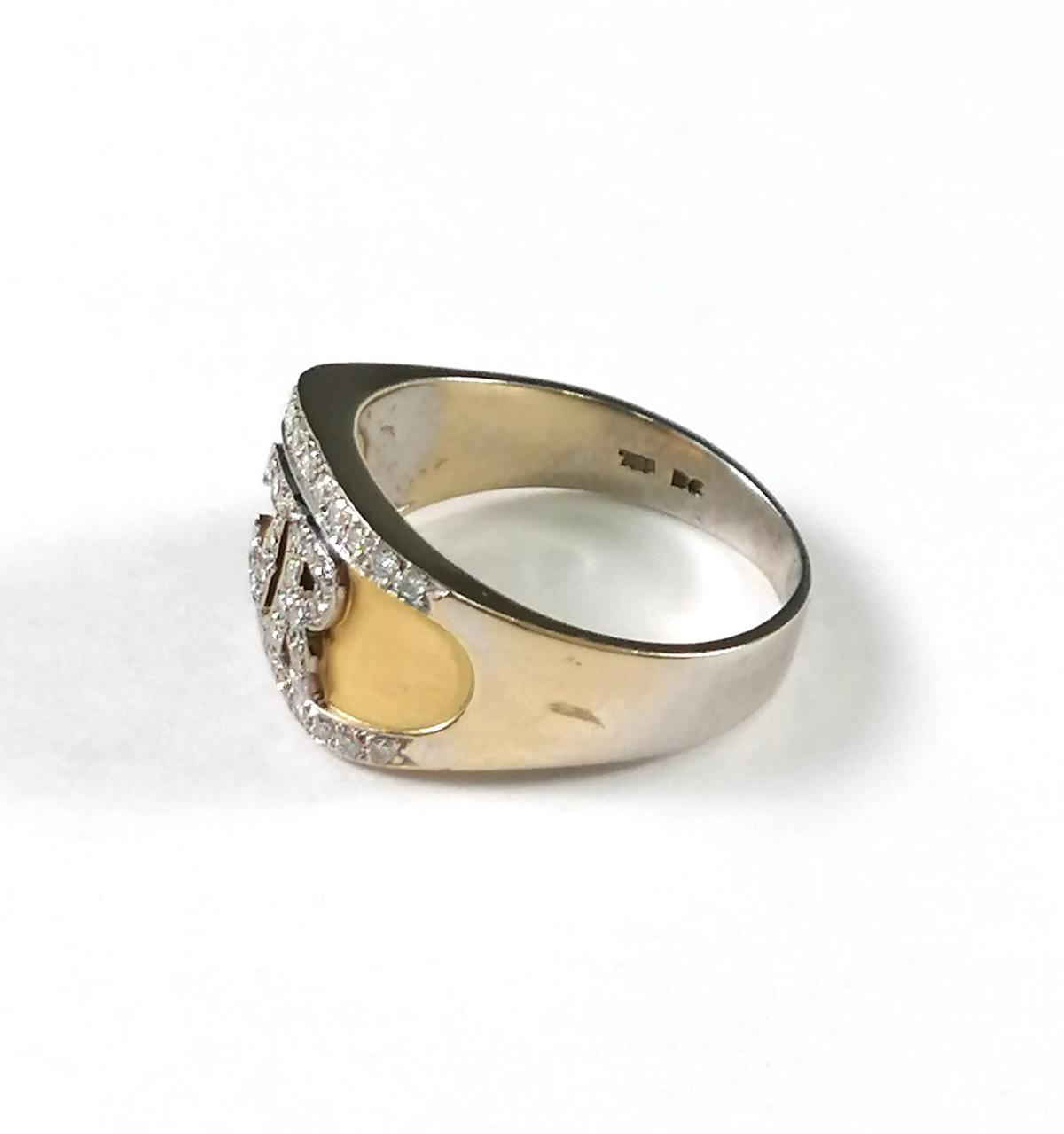 18 Karat Goldring mit Diamanten und Monogramm 'JR'-5