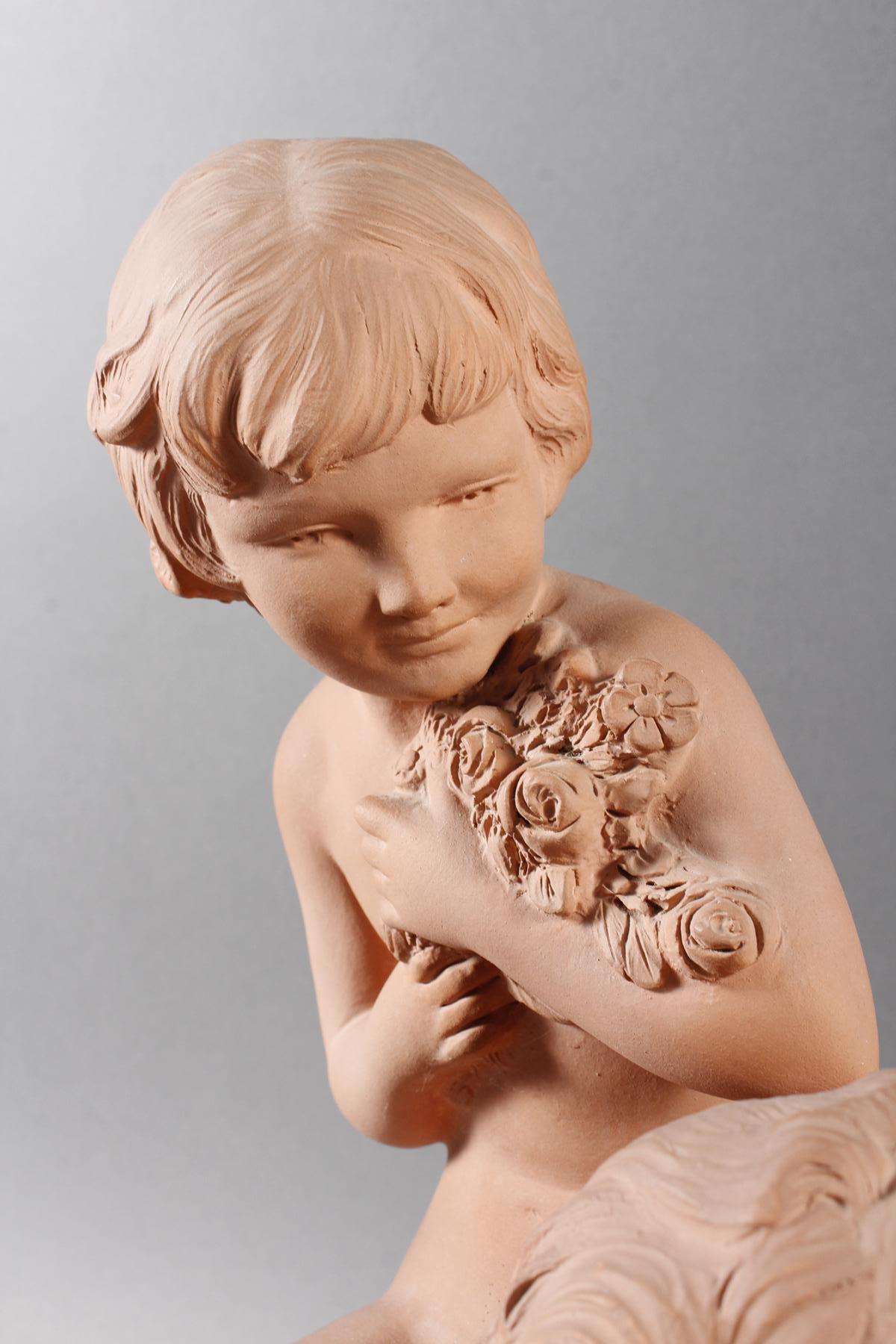 Terrakottaskulptur, Kinder auf der Blumenwiese, Ugo Cipriani (1887-1960)-2