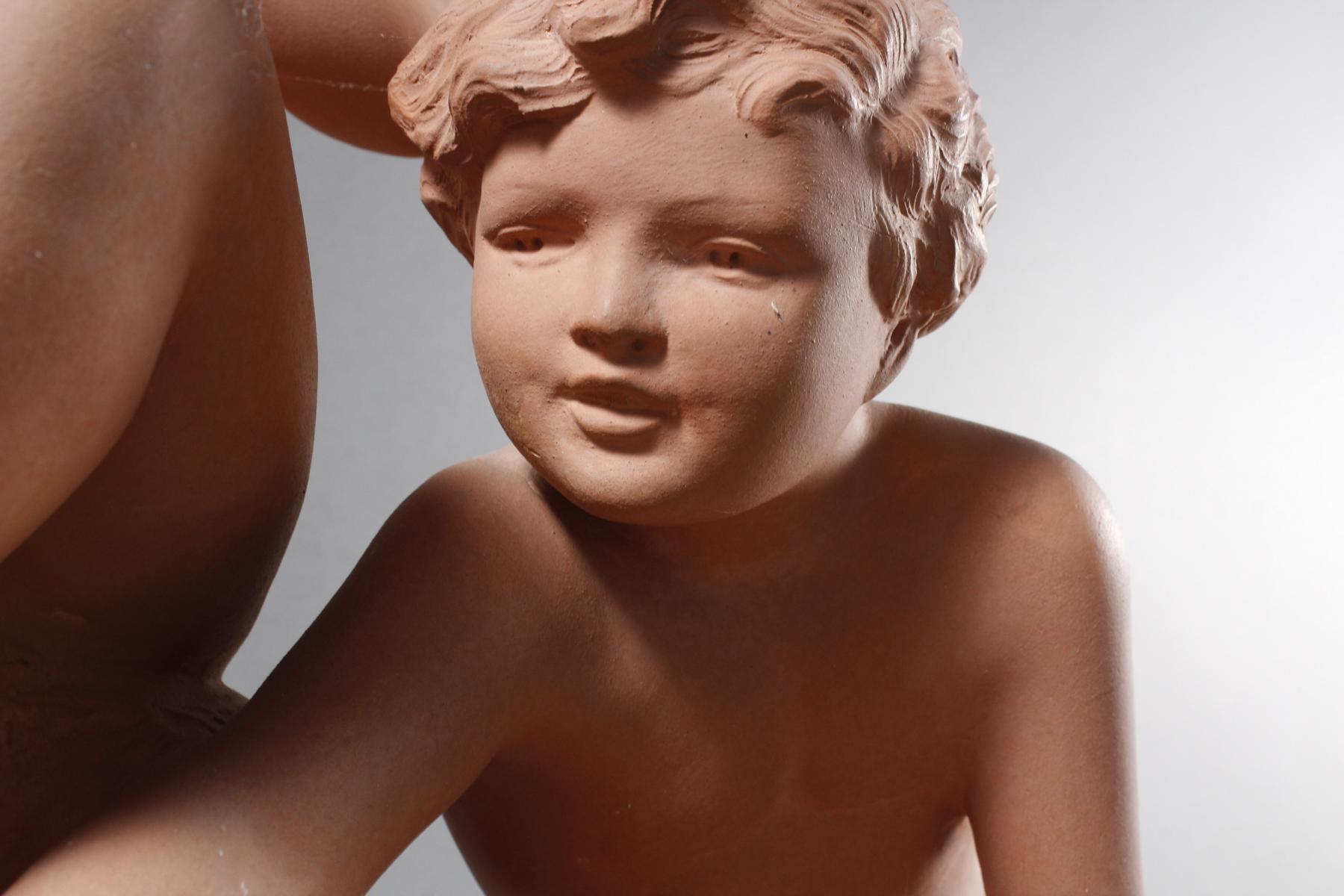 Terrakottaskulptur, Kinder auf der Blumenwiese, Ugo Cipriani (1887-1960)-3
