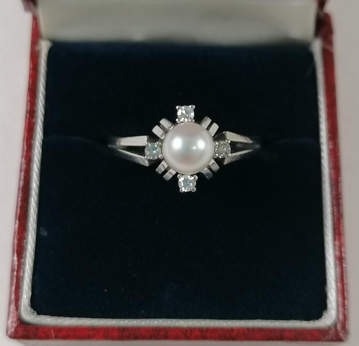 14 Karat Weißgoldring mit Perle und Diamanten-5