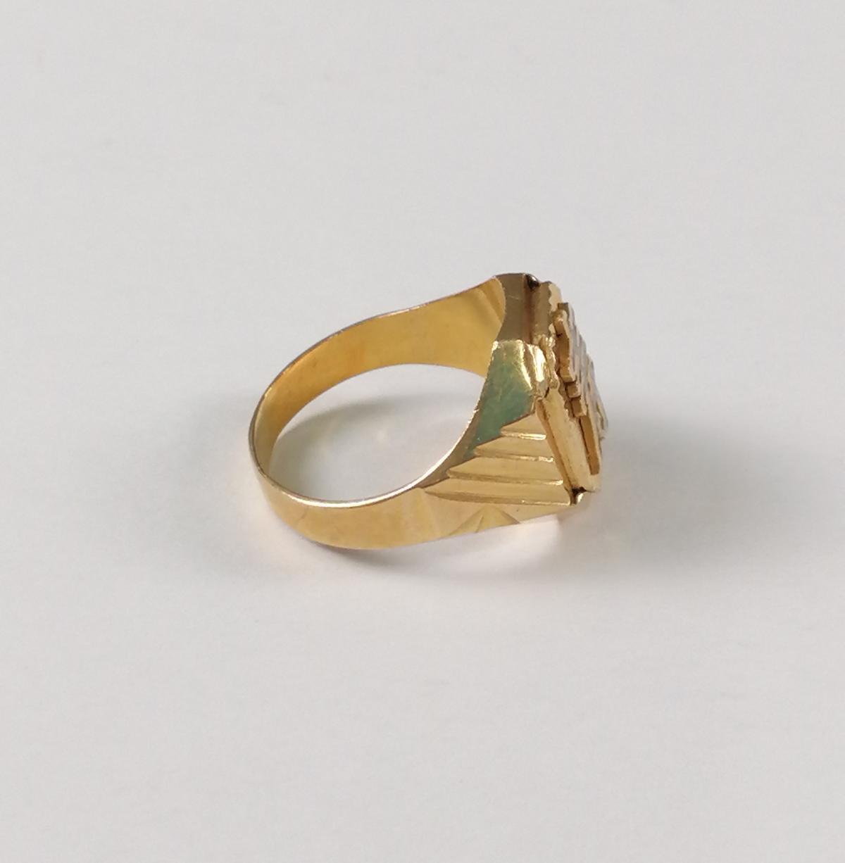 22 Karat Gelbgold-Siegelring mit dem chinesischen Schriftzeichen für 'Langes Leben'-4
