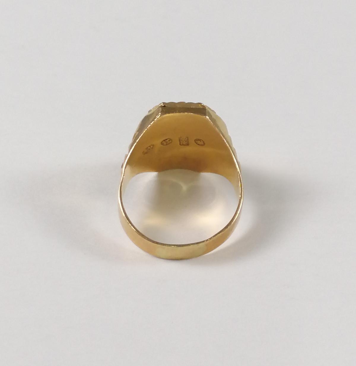 22 Karat Gelbgold-Siegelring mit dem chinesischen Schriftzeichen für 'Langes Leben'-5