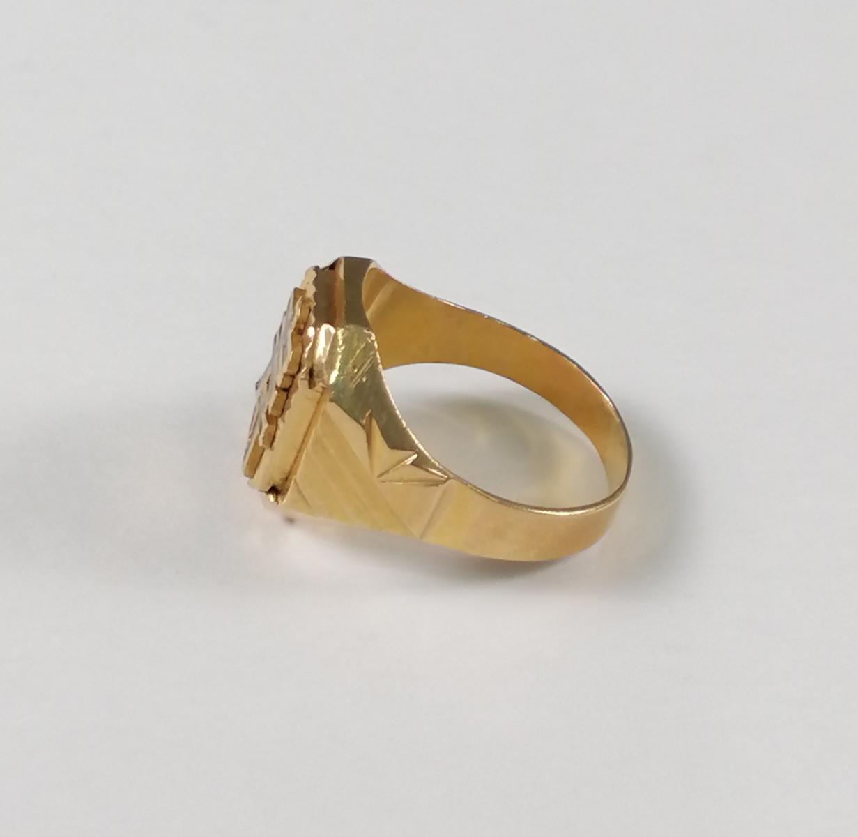 22 Karat Gelbgold-Siegelring mit dem chinesischen Schriftzeichen für 'Langes Leben'-6