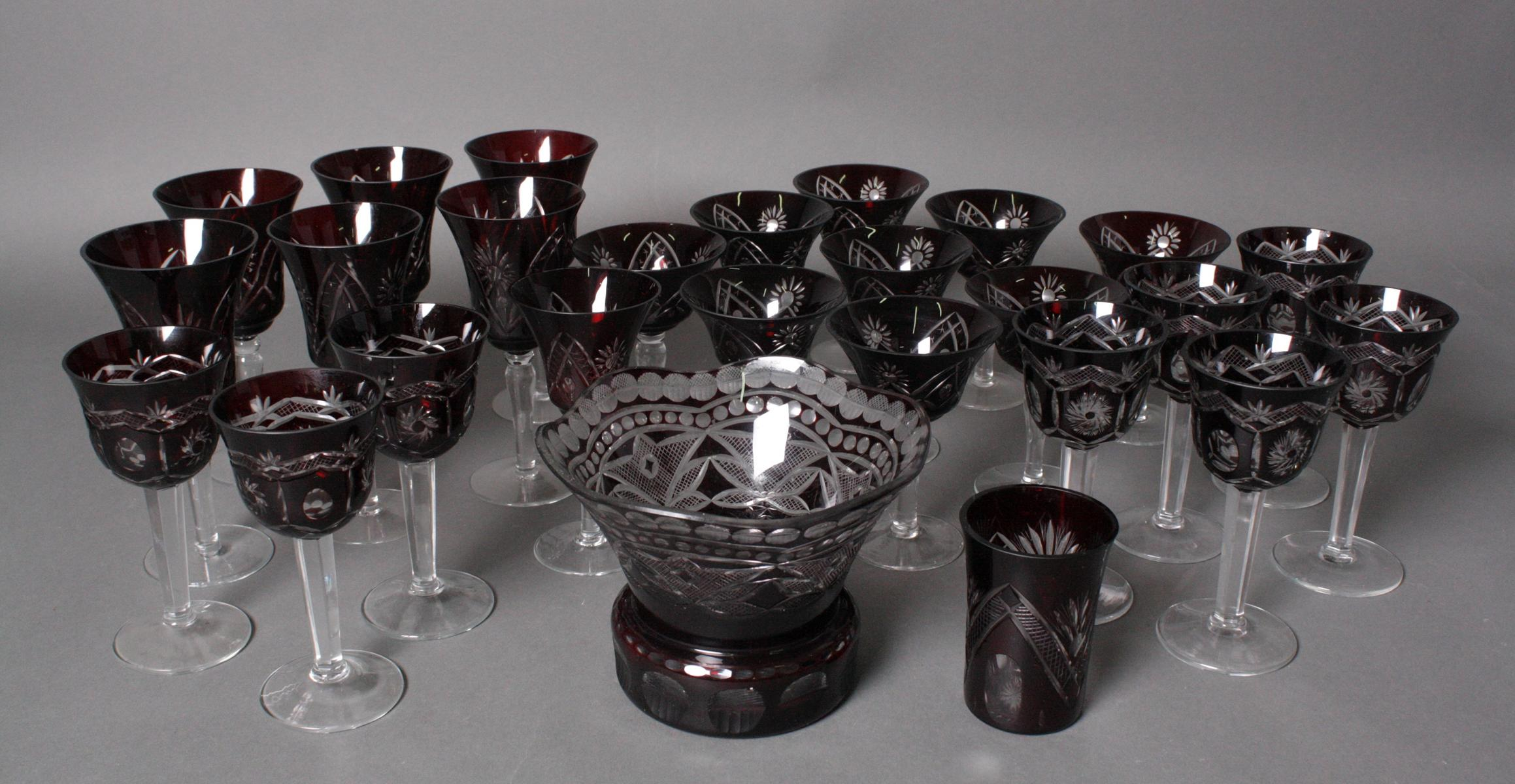 Konvolut Kristall-Gläser, 26-teilig, 20. Jahrhundert