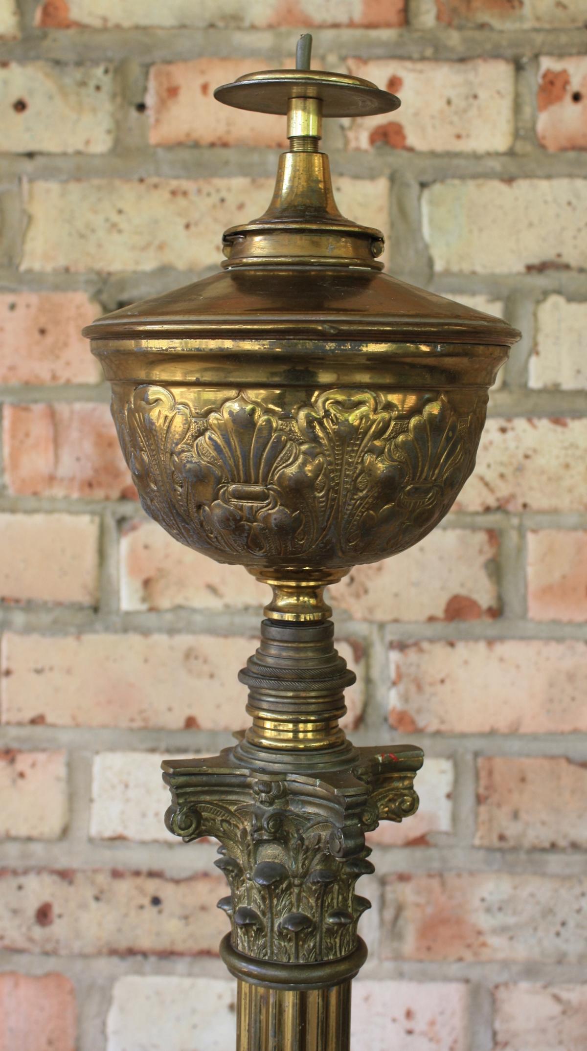 Empire Stehlampe, Petroleumlampe, Bronze Feuervergoldet-2