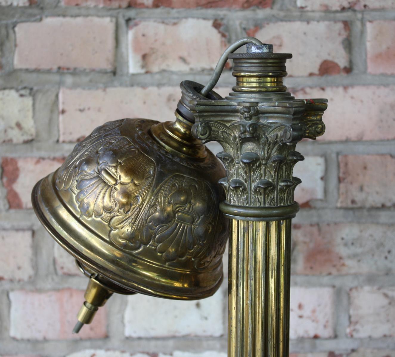 Empire Stehlampe, Petroleumlampe, Bronze Feuervergoldet-4
