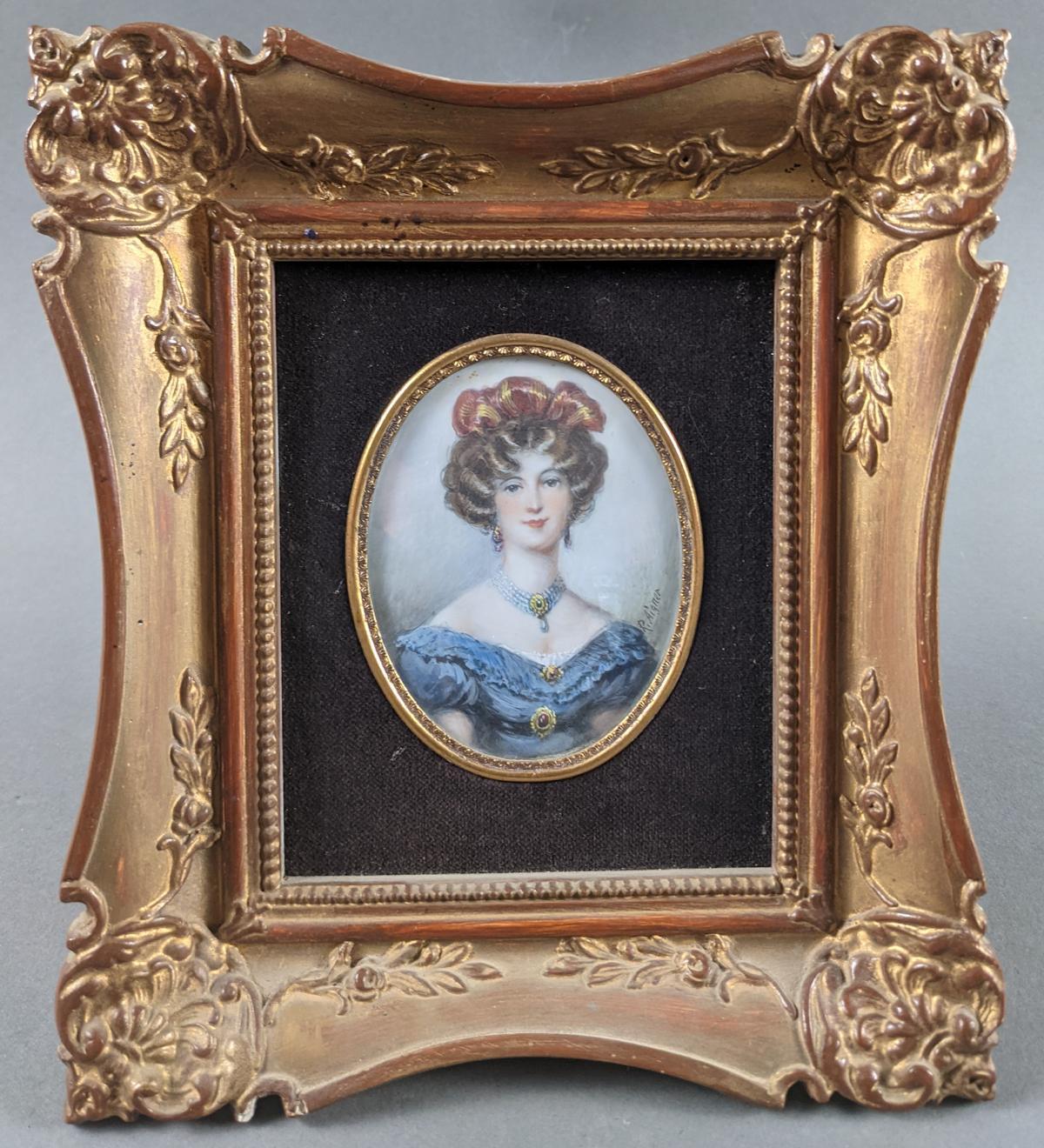 R. Aigner, Elfenbeinminiatur um 1900, Damenportrait