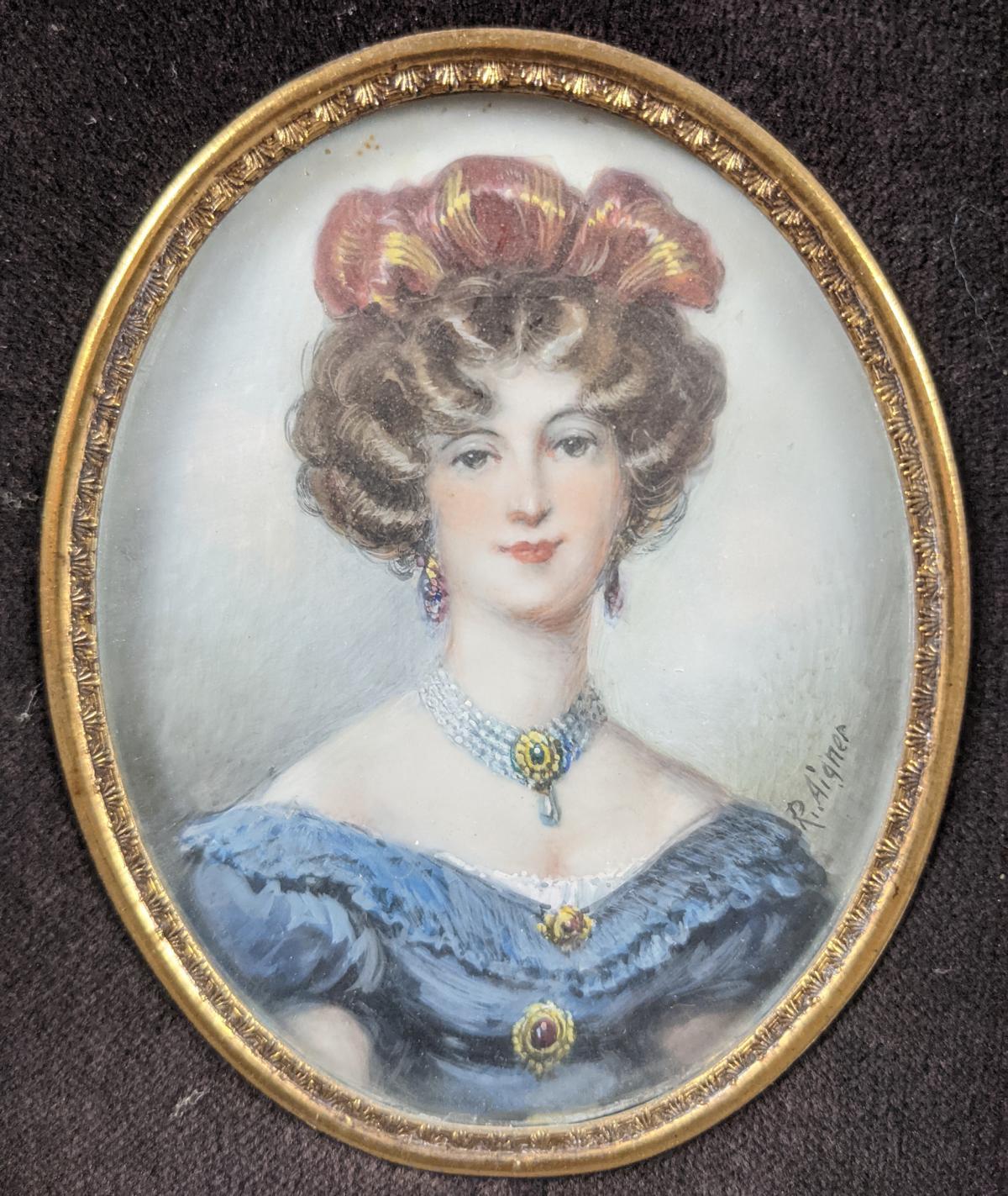 R. Aigner, Elfenbeinminiatur um 1900, Damenportrait-2