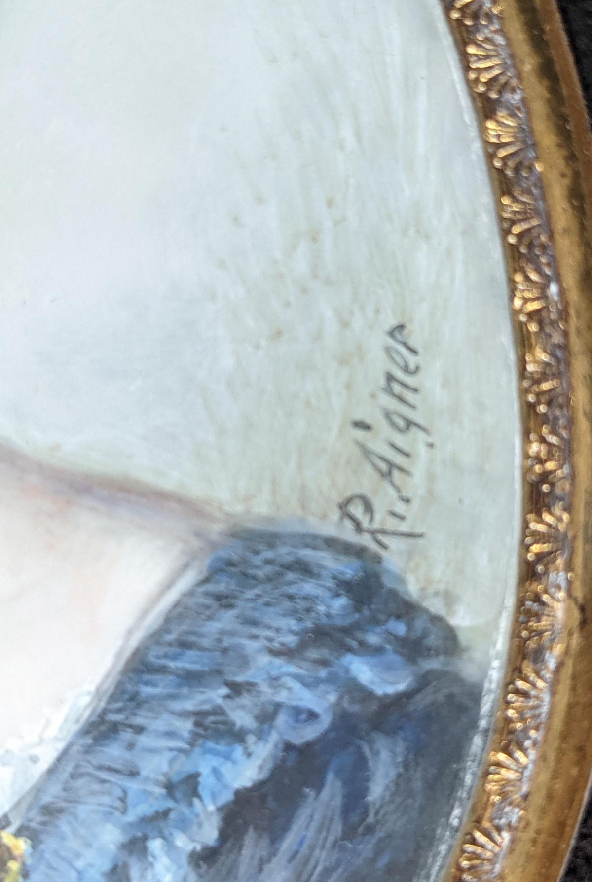 R. Aigner, Elfenbeinminiatur um 1900, Damenportrait-3
